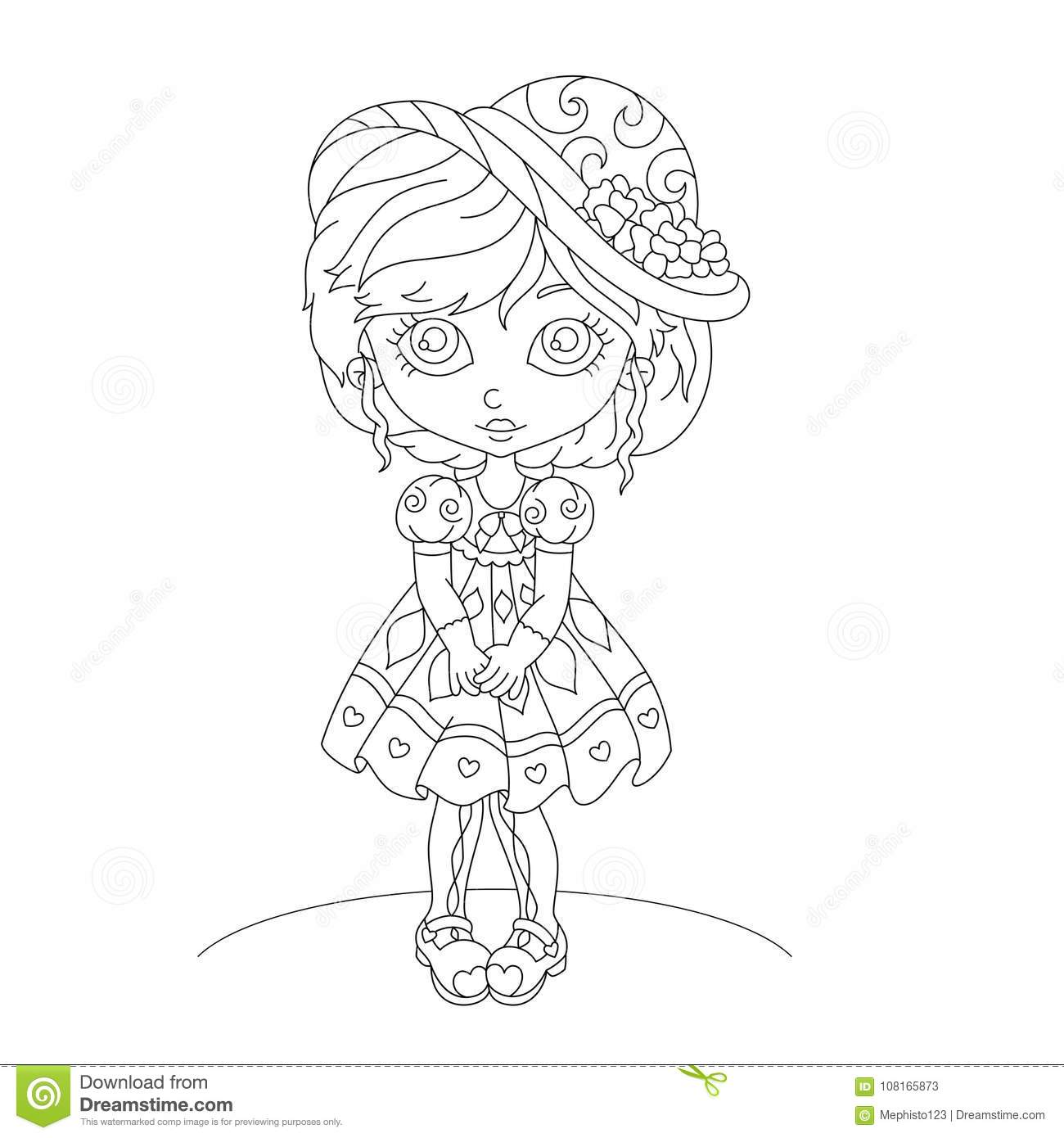 Cute Cartoon Little Girl Coloring Book Stock Vector Illustration