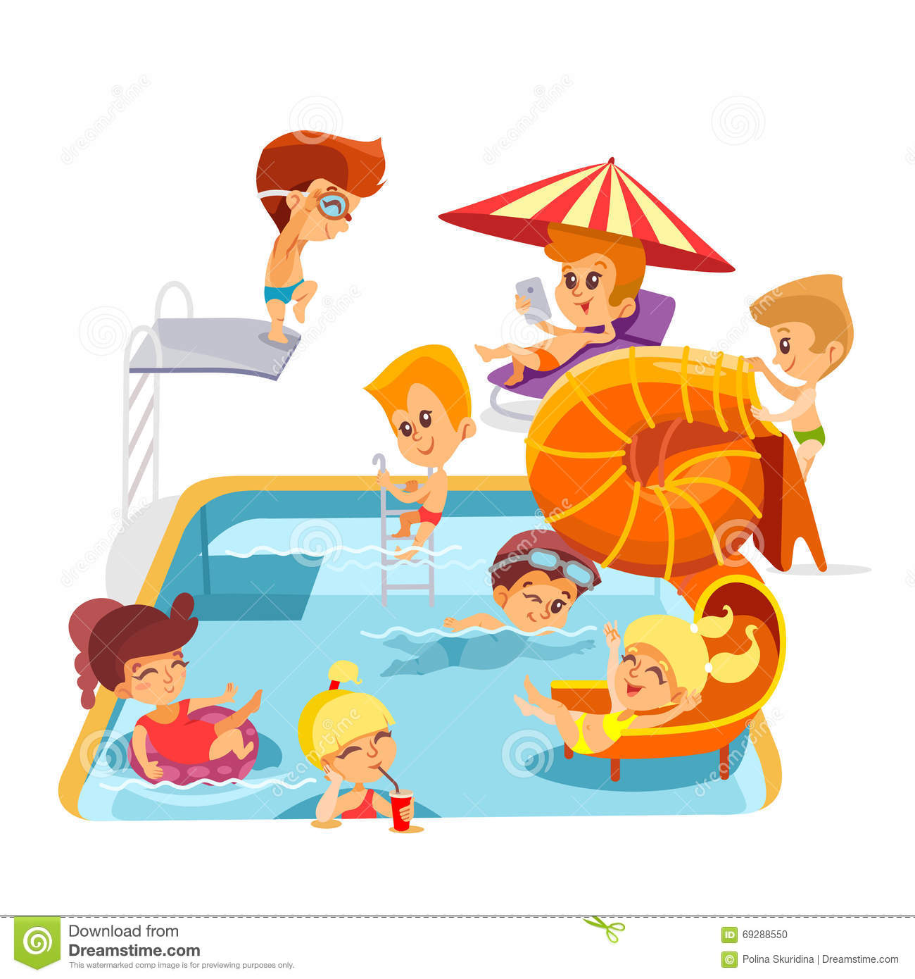 Cute Cartoon Little Kids Playing In Swimming Pool. Stock Vector ...
