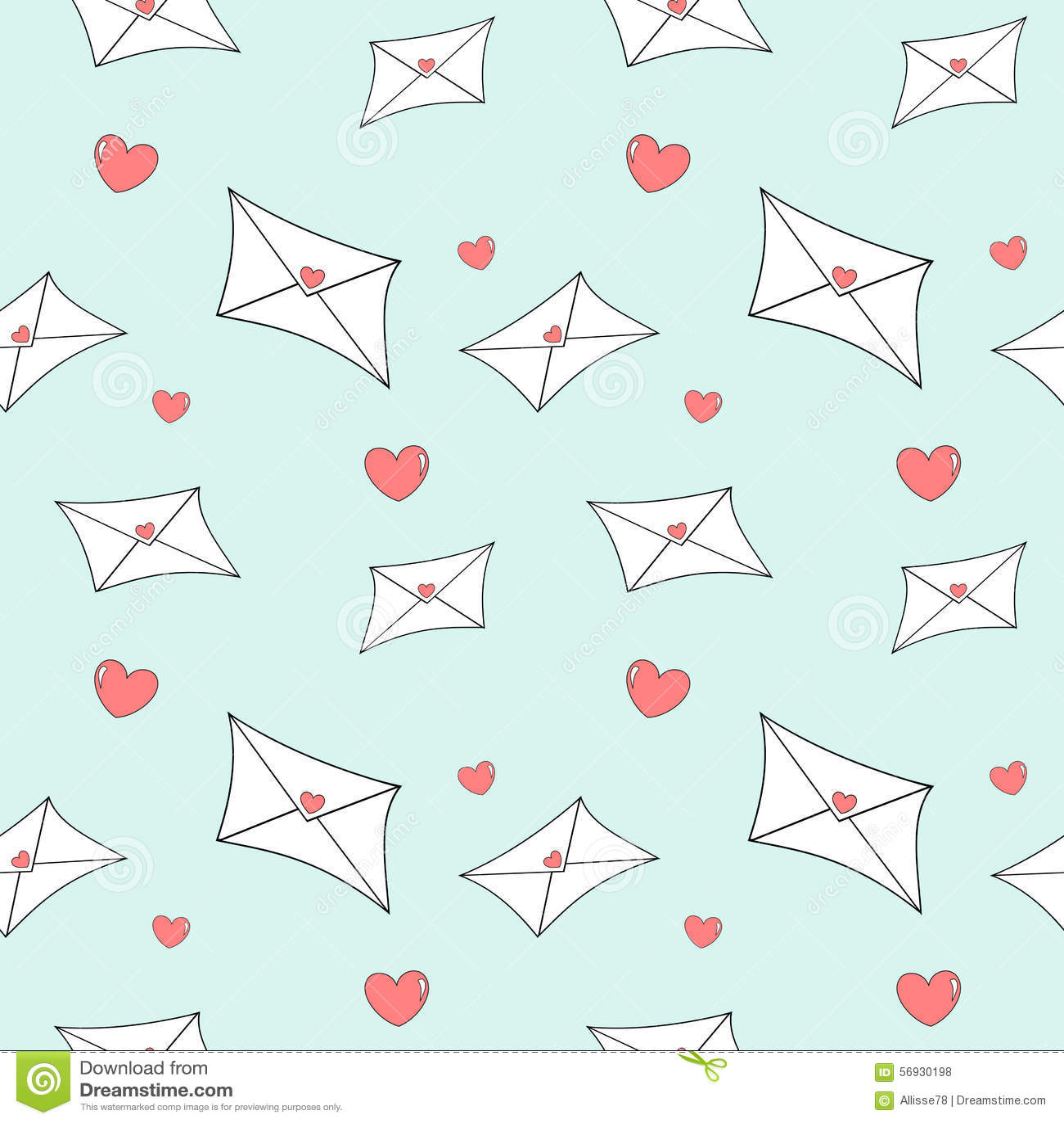Cute Cartoon Love Mail Letter Seamless Pattern