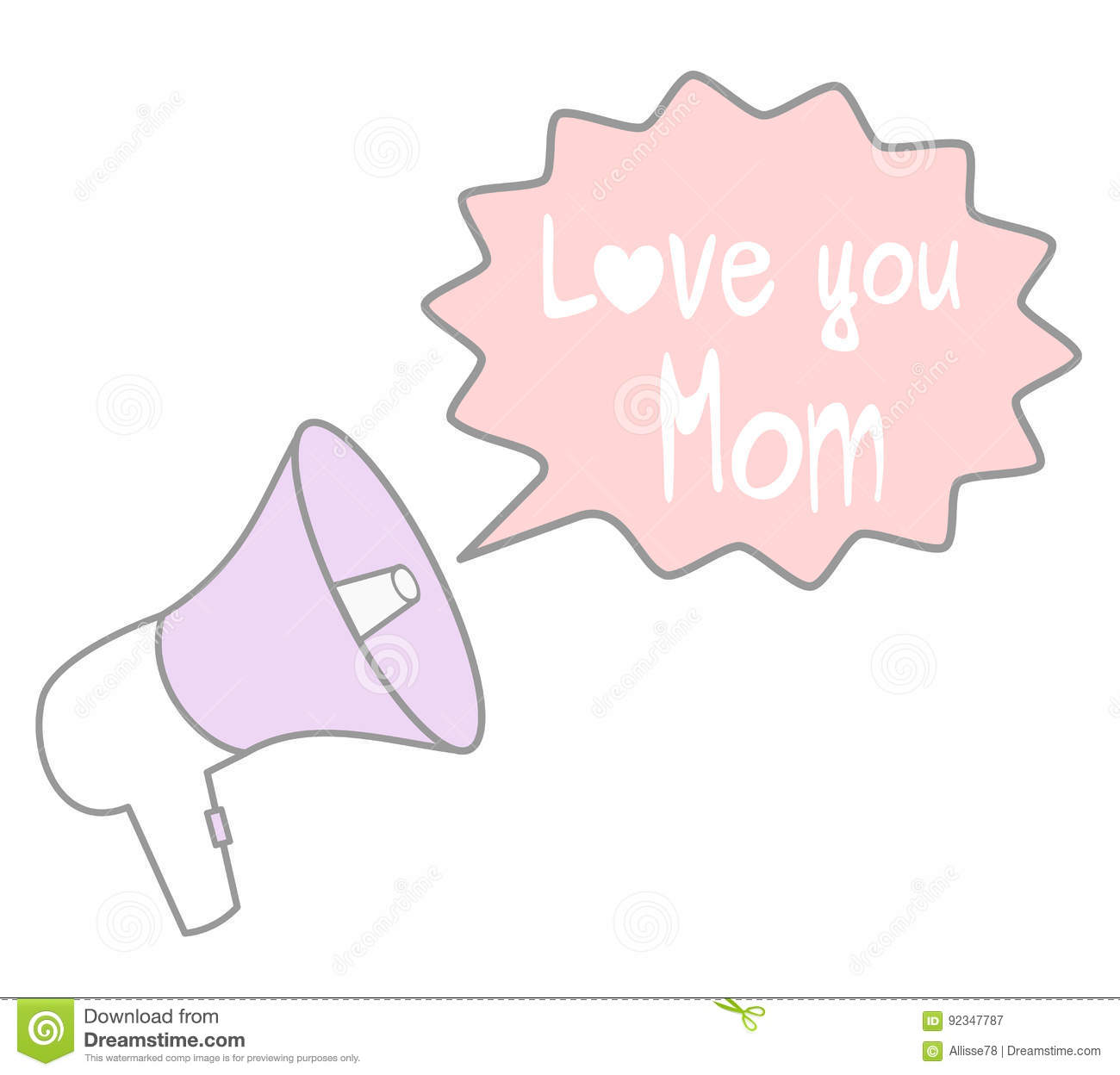 Cute Cartoon Lovely Megaphone With Speech Bubble With Love You Mom