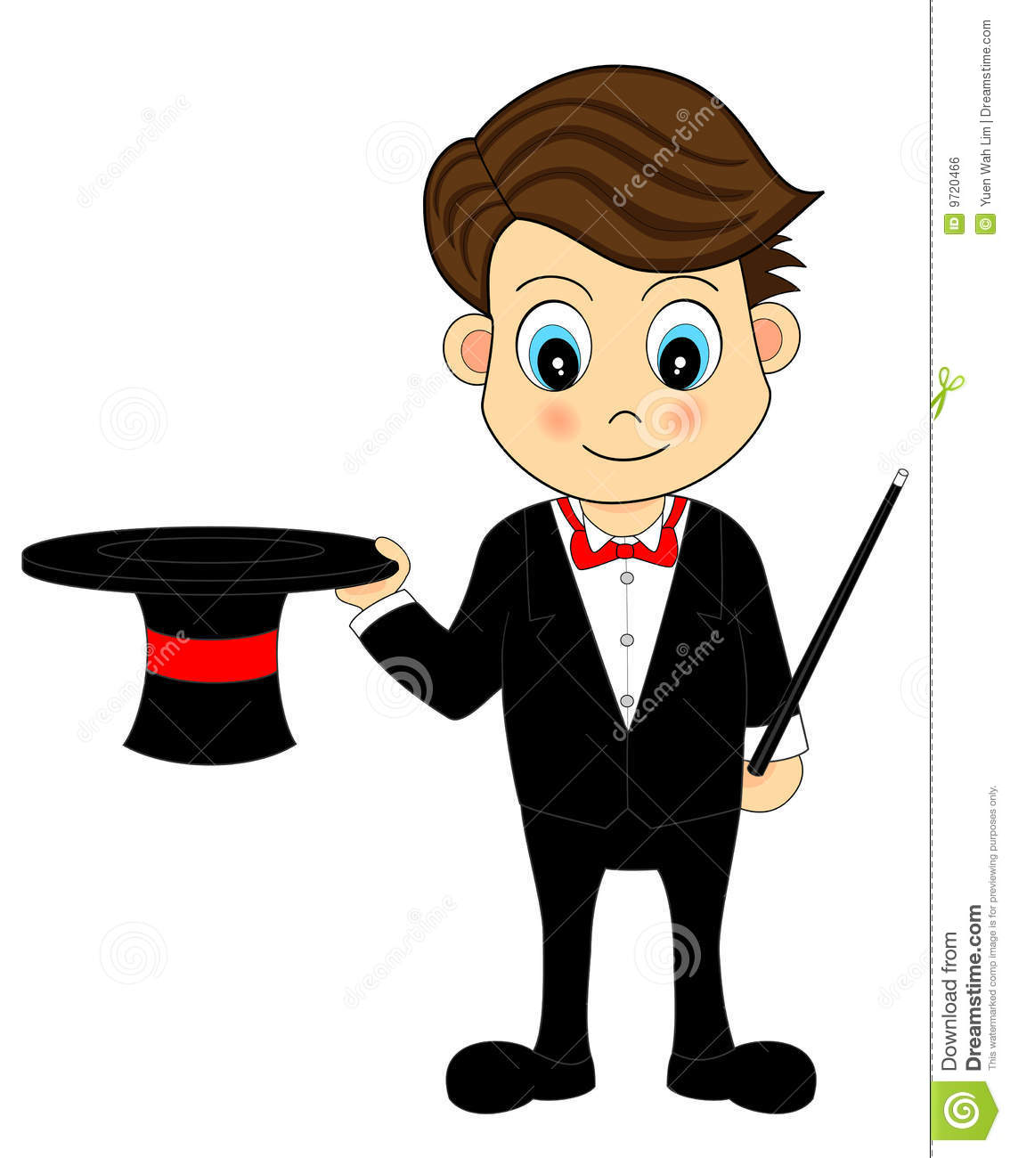 Cute Cartoon Magician With Hat And Wand Royalty Free Stock Image - Image: 9720466