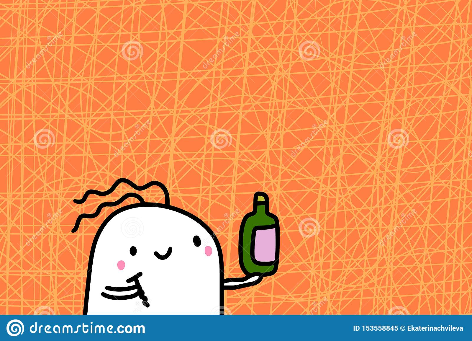 Cute cartoon man holding bottle and corkscrew hand drawn vector illustration on textured background