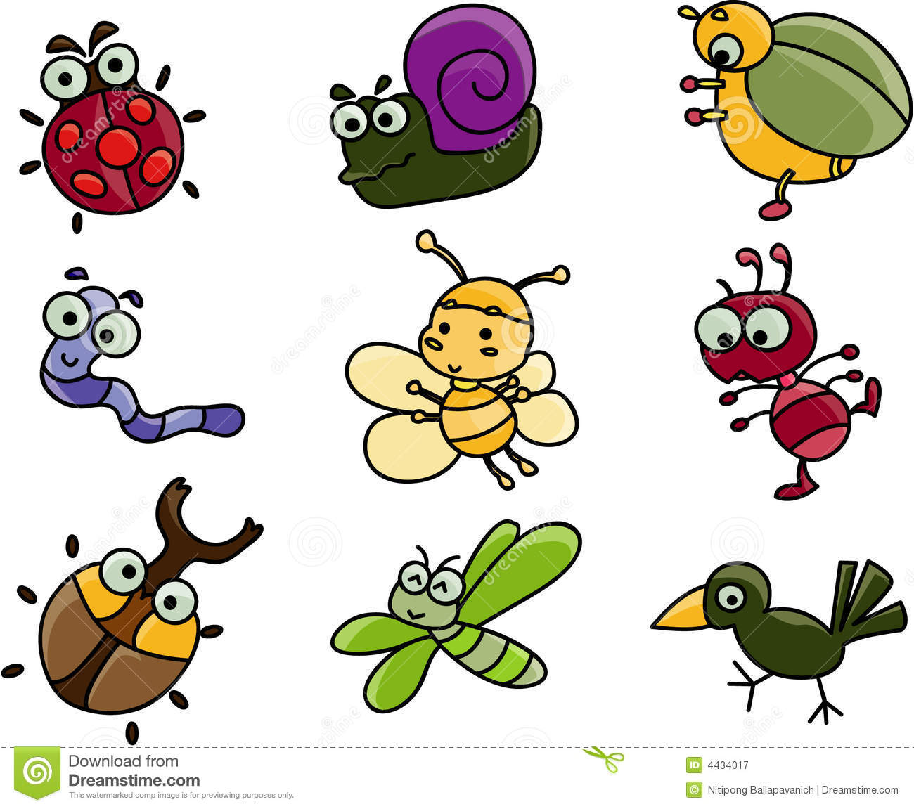 Dragonfly Planner Cute Cartoon Of Many Bugs Stock Vector Illustration Of
