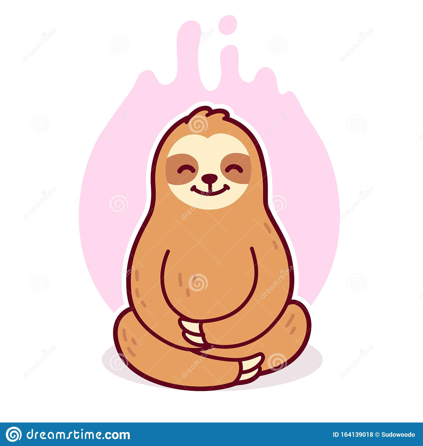 Cute Cartoon Meditating Sloth Stock Vector Illustration Of Minimal Peaceful 164139018