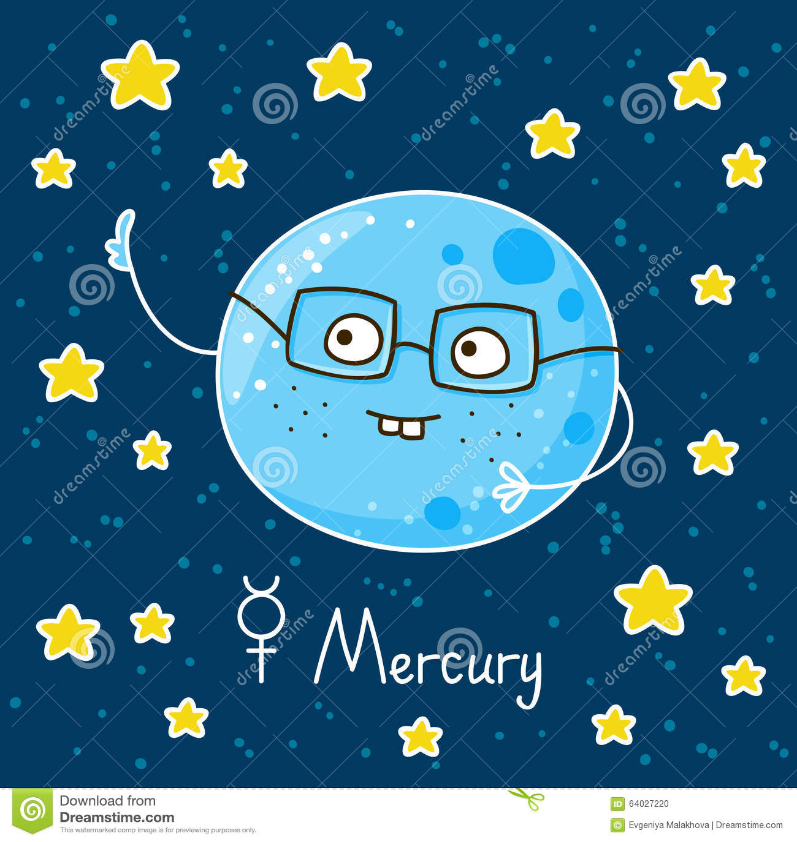 Cute cartoon Mercury stock vector. Image of glasses ...