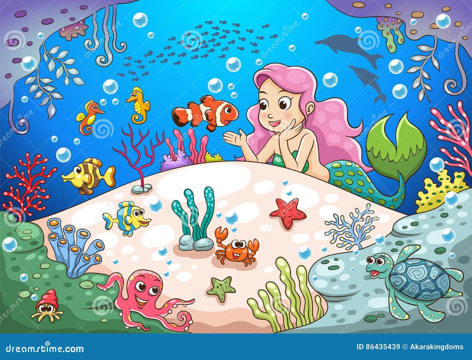 Cute Cartoon Mermaid Underwater World Stock Vector ...