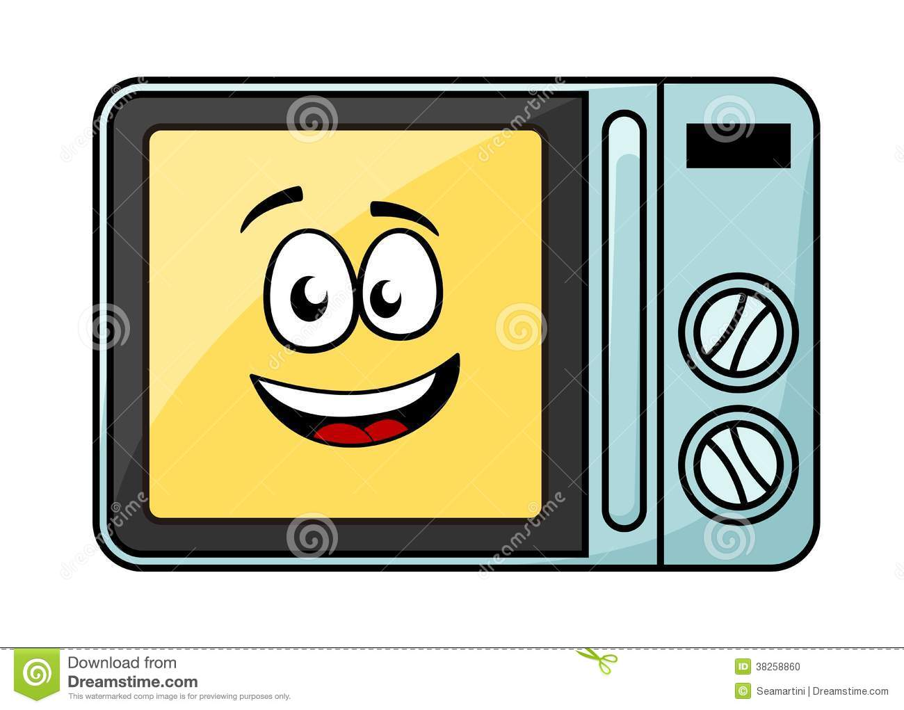 Cute Cartoon Microwave Oven Stock Vector Image 38258860