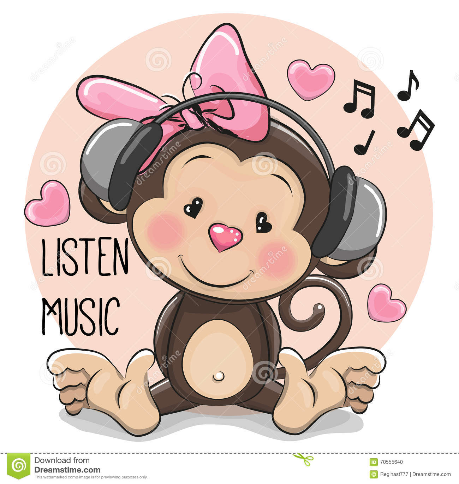 cute cartoon monkey with headphones stock vector image