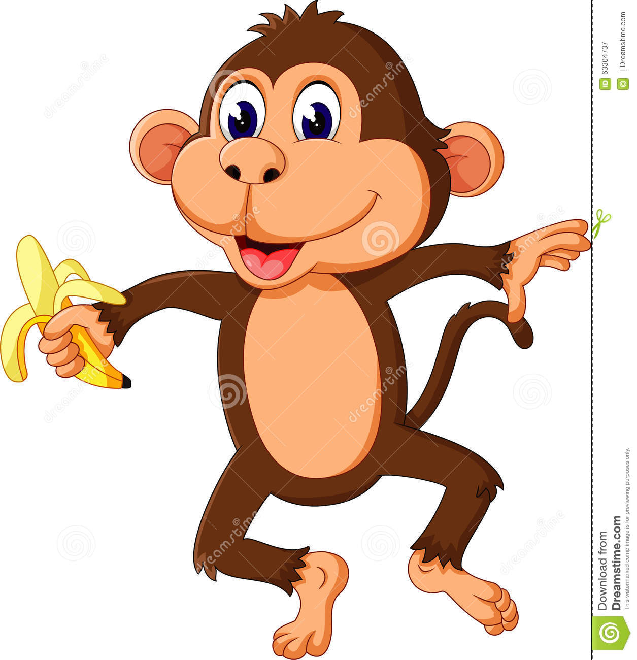 Cute Cartoon Monkey Stock Vector - Image: 63304737