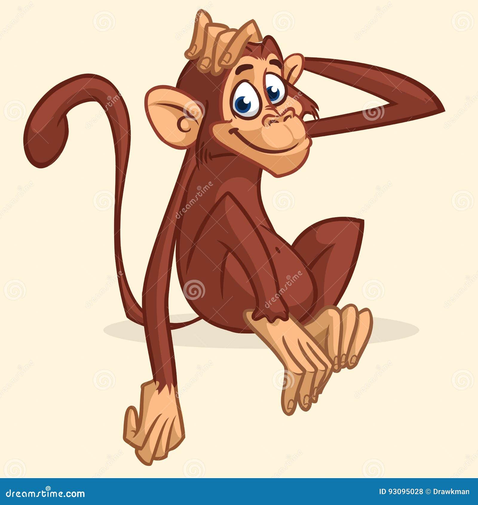 Cute Cartoon Monkey Sitting. Vector Illustration Of Chimpanzee ... for Cute Animated Sticker  58lpg