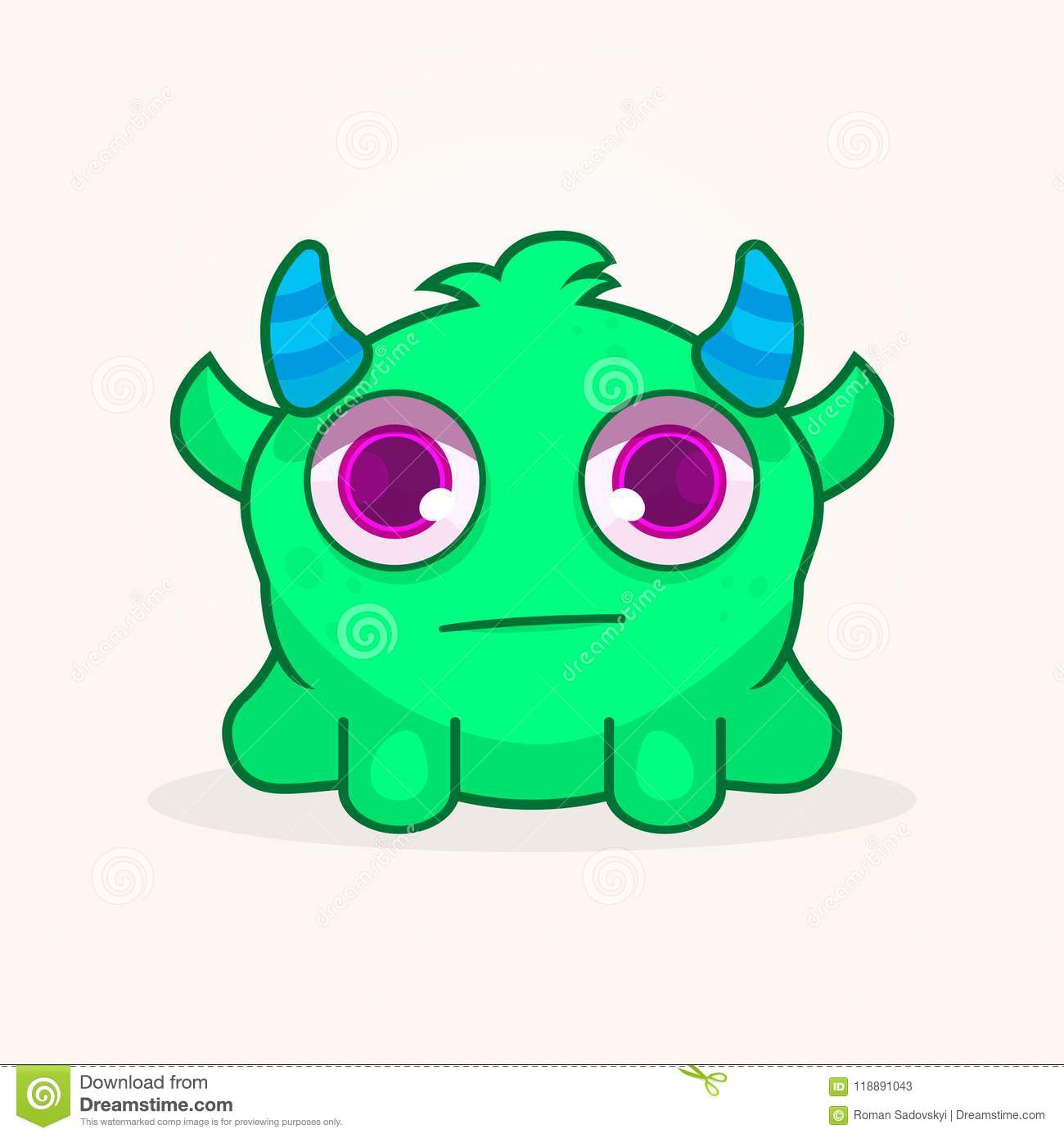 Cute Cartoon Monster Confused Monster Illustration Stock Vector