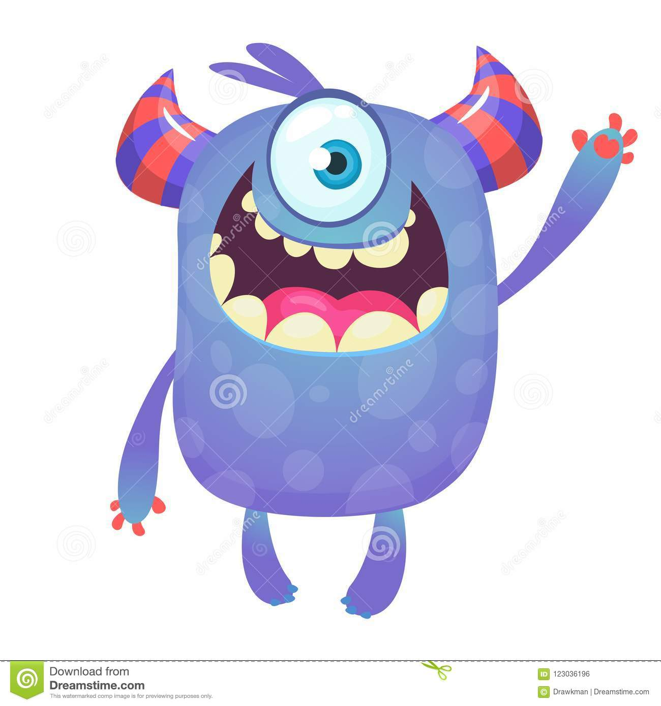 Cute Cartoon Monster With Horns And With One Eye Smiling Monster Emotion With Big Mouth Stock Vector Illustration Of Creature Bright 123036196