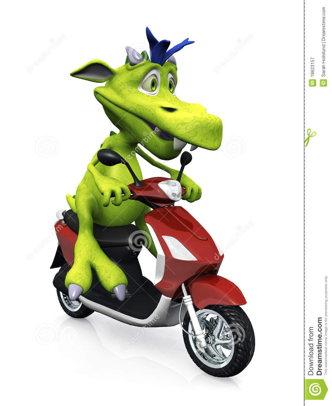 Cute Cartoon Monster On A Scooter Royalty Free Stock
