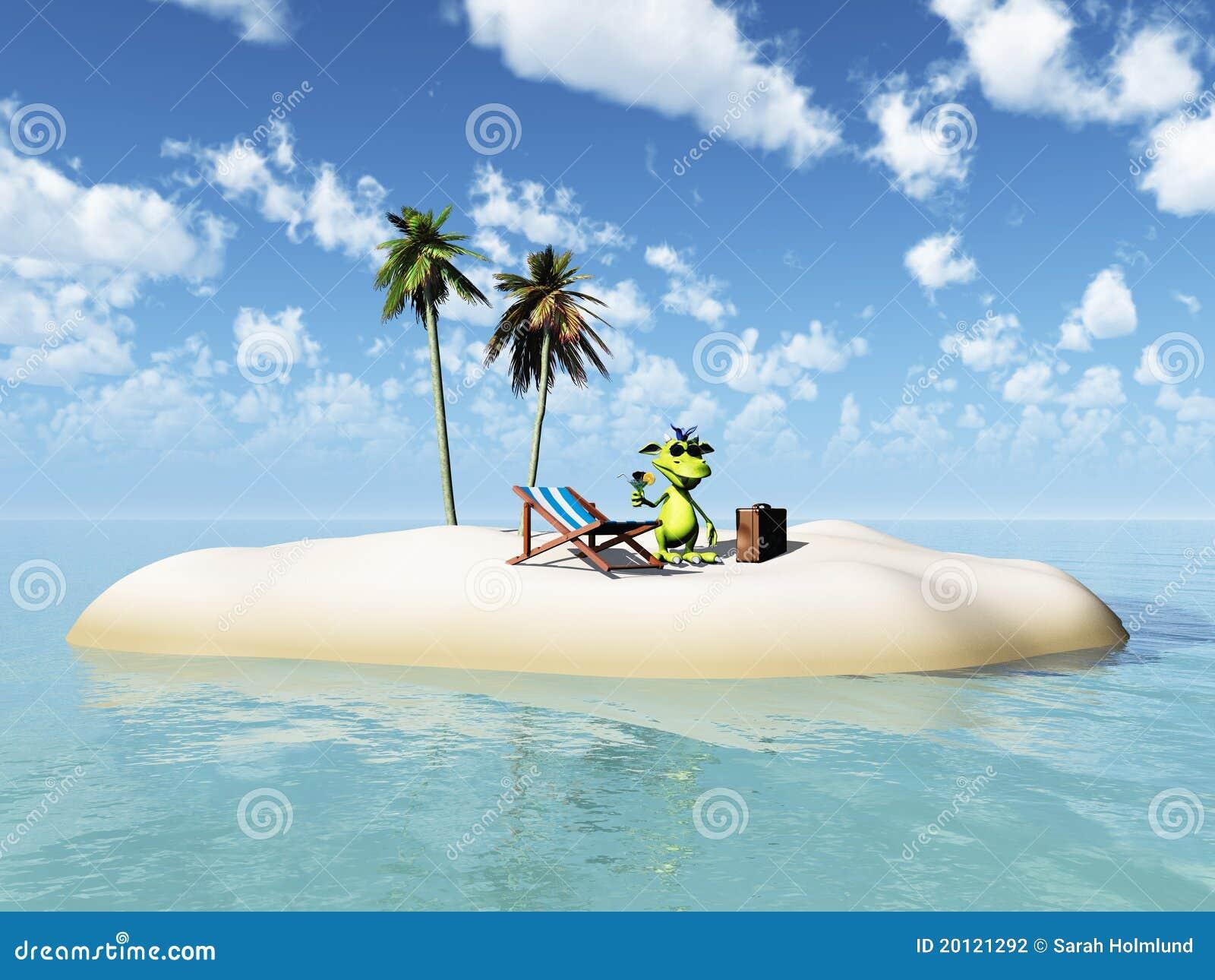 Turquoise Bathroom Cute Cartoon Monster Taking Vacation On Island Stock