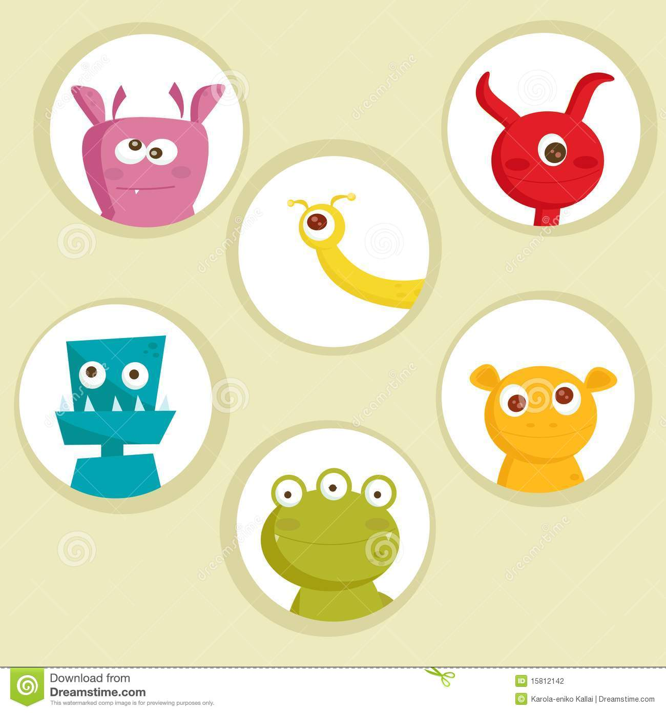 Cute Cartoon Monsters Stock Photography - Image: 15812142