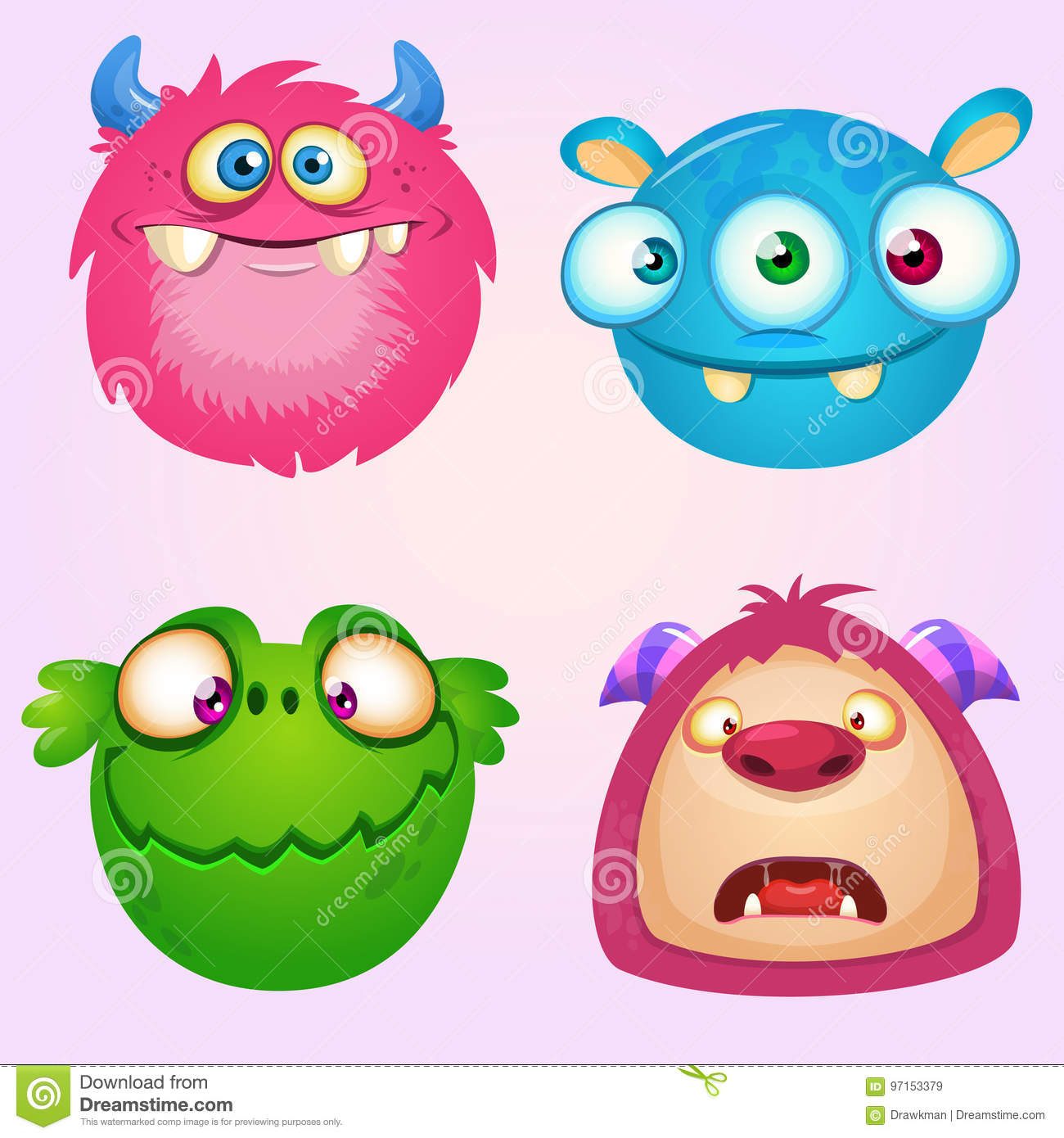 Cute cartoon monsters collection. Vector set of 4 Halloween monster icons.