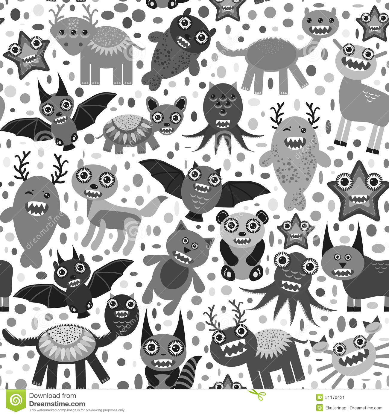 Cute Cartoon Monsters Set Seamless Pattern On White Background