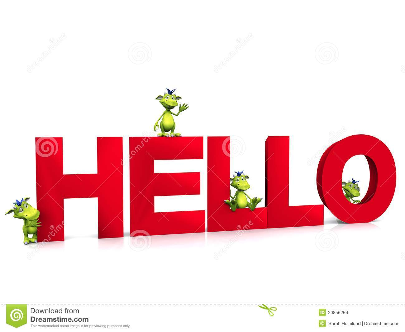 Cute Cartoon Monsters On The Word Hello Stock Images