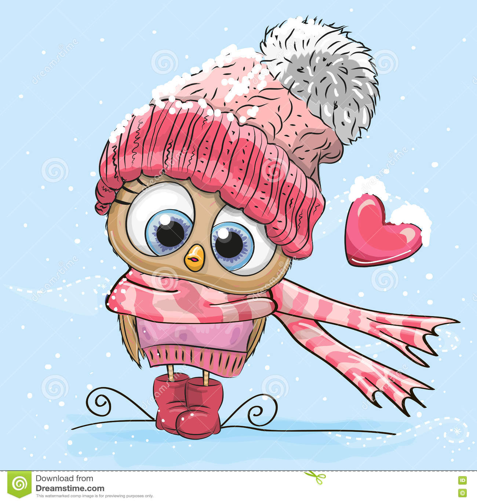 Cute Cartoon Owl stock vector. Illustration of birds ...