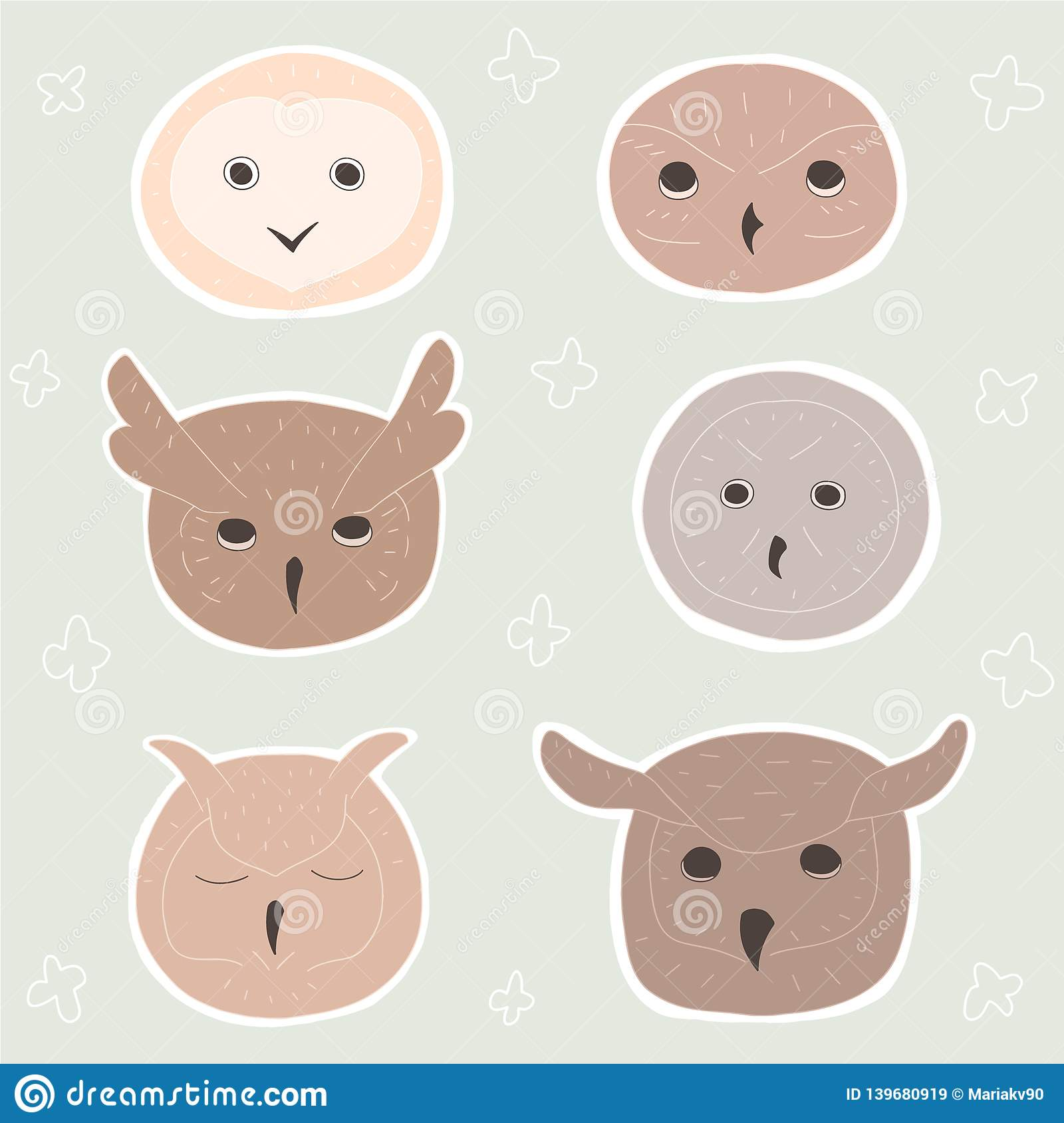 Cute cartoon owls heads on pastel background. Doodle birds on color like stickers