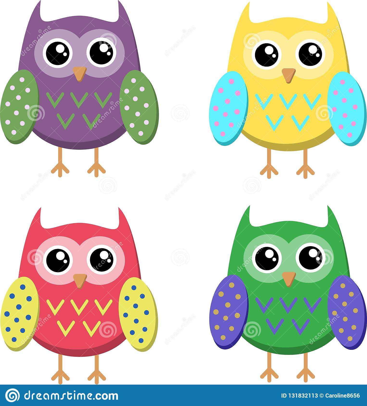 Cute cartoon owls icons, bright owls illustration