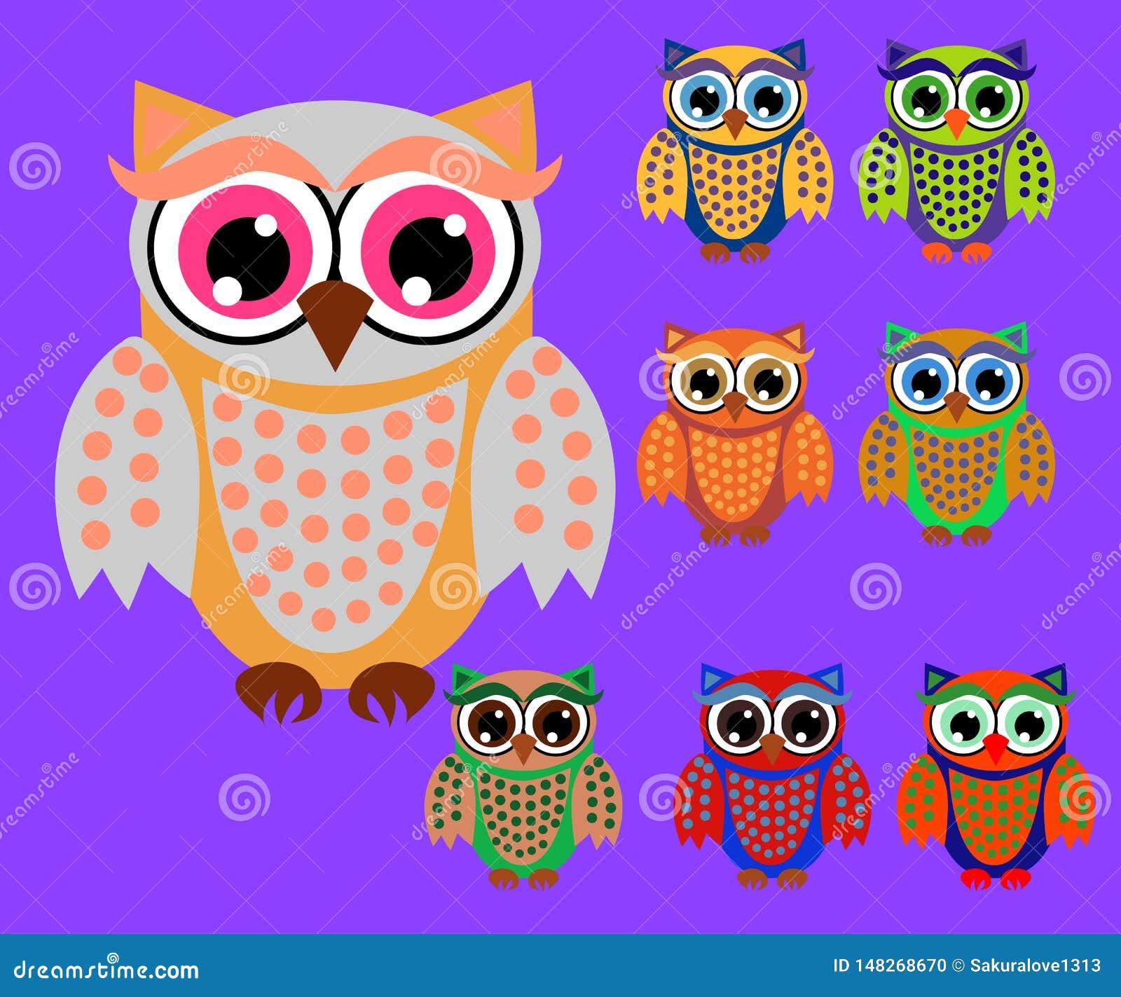 Cute cartoon owls set for baby showers, birthdays and invitation designs