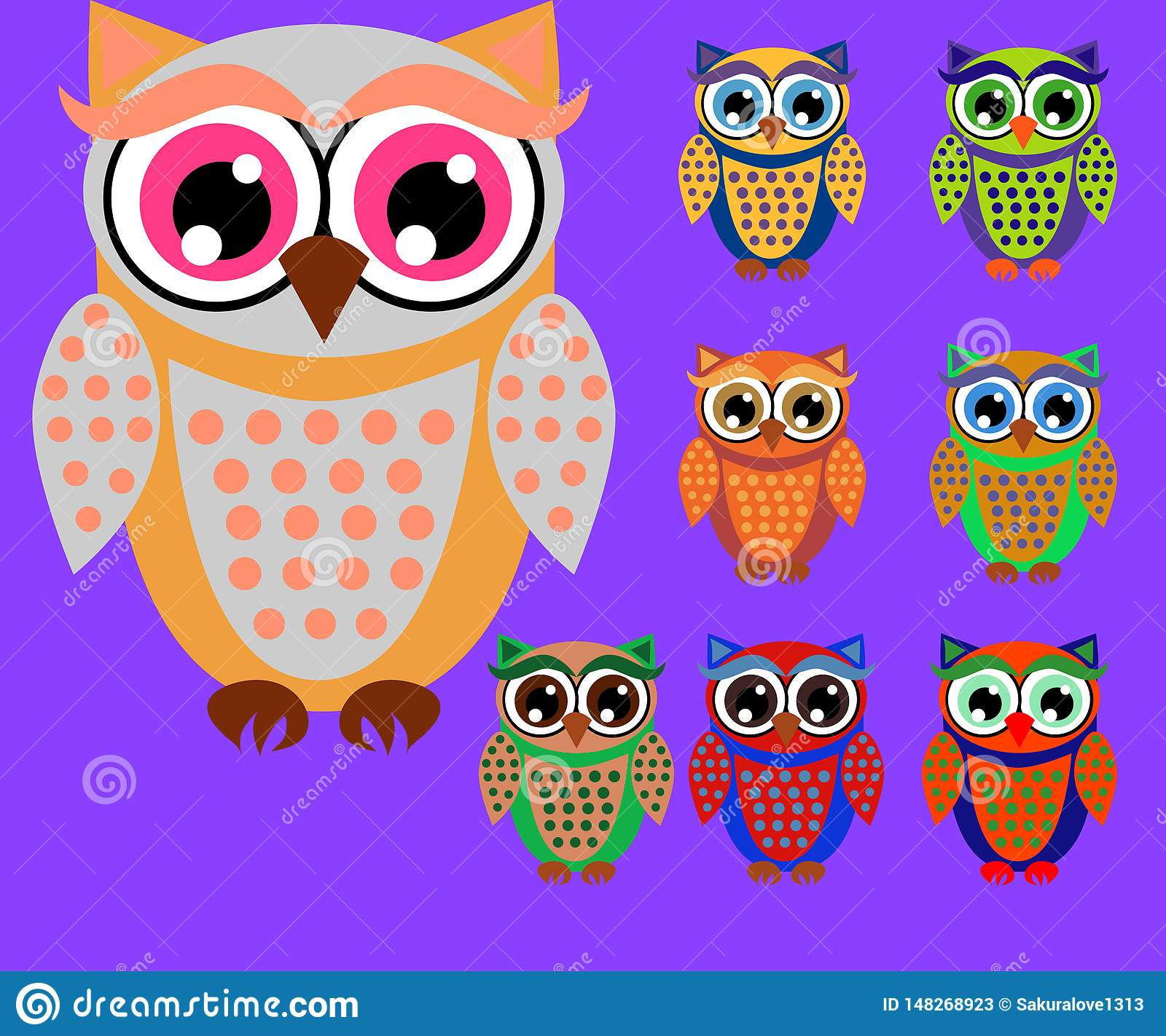 Cute cartoon owls set for baby showers, birthdays and invitation designs