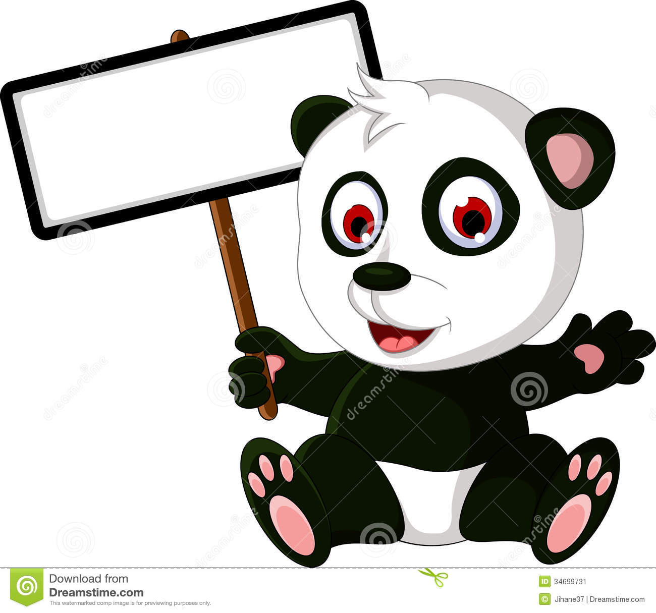 Cute Cartoon Panda Posing With White Board Stock Image - Image ...