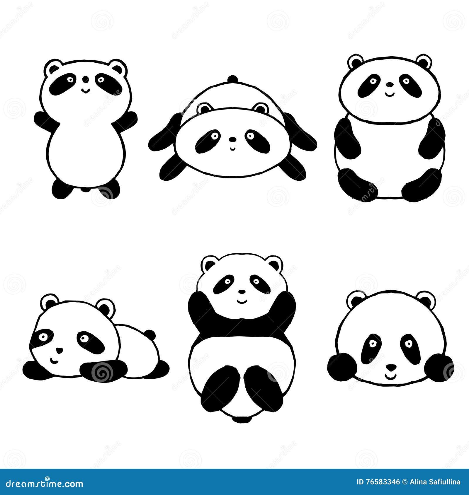 Cute Cartoon Panda Set Icons Stock Vector Image 76583346