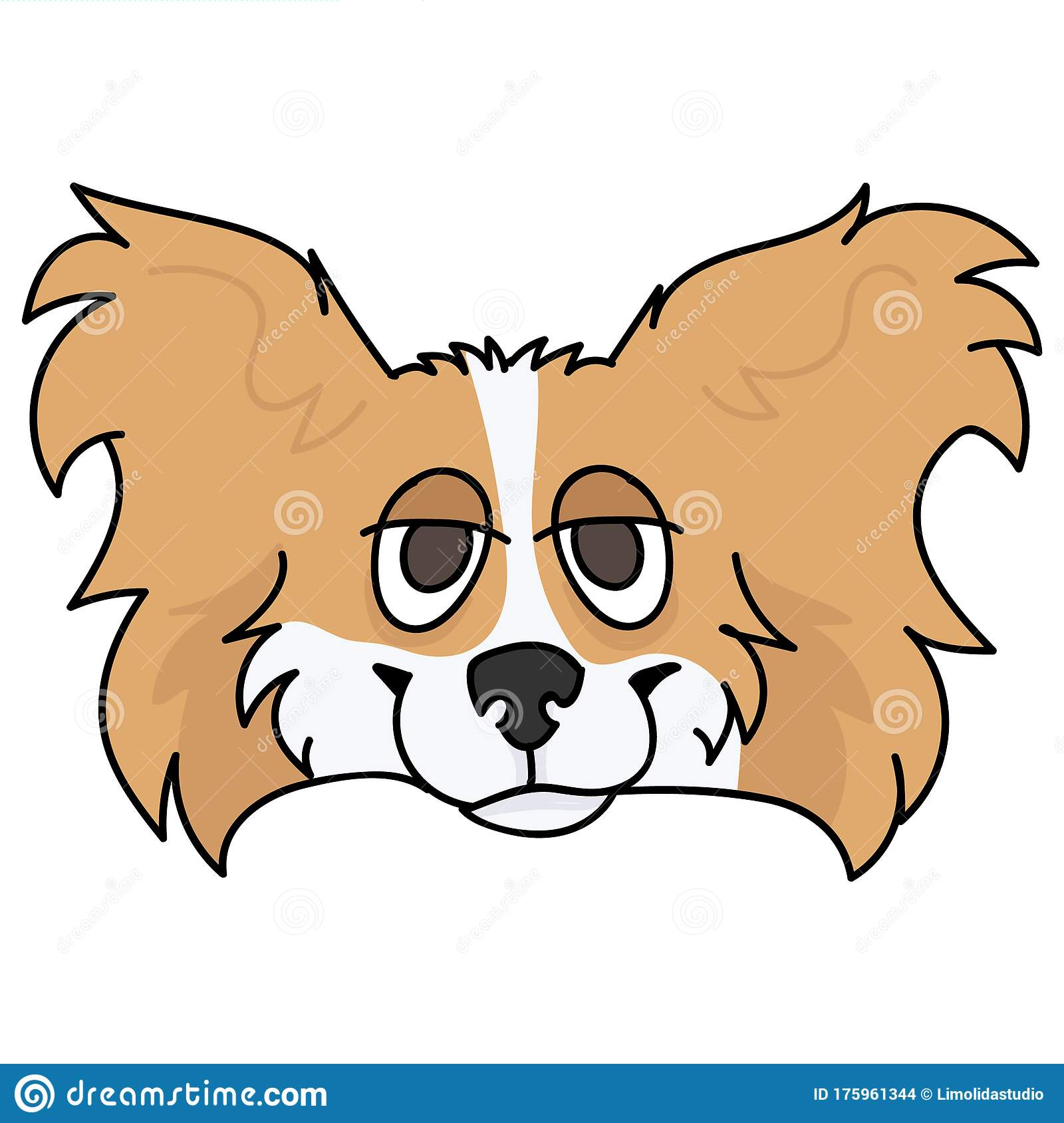 Cute Cartoon Papillon Dog Breed Face Vector Clipart Pedigree Kennel Doggie Breed For Dog Lovers Purebred Domestic Stock Vector Illustration Of Papillon Hunting 175961344