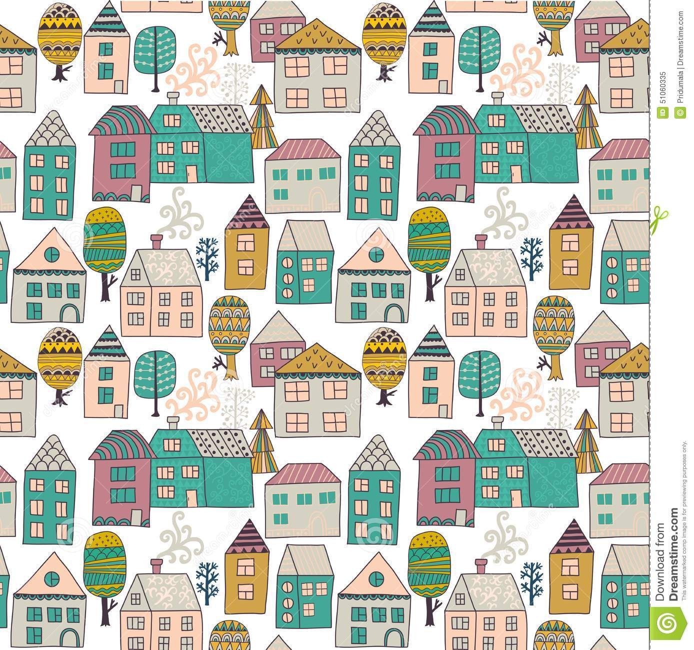 Seamless hand drawn house pattern royalty free stock photo for House pattern