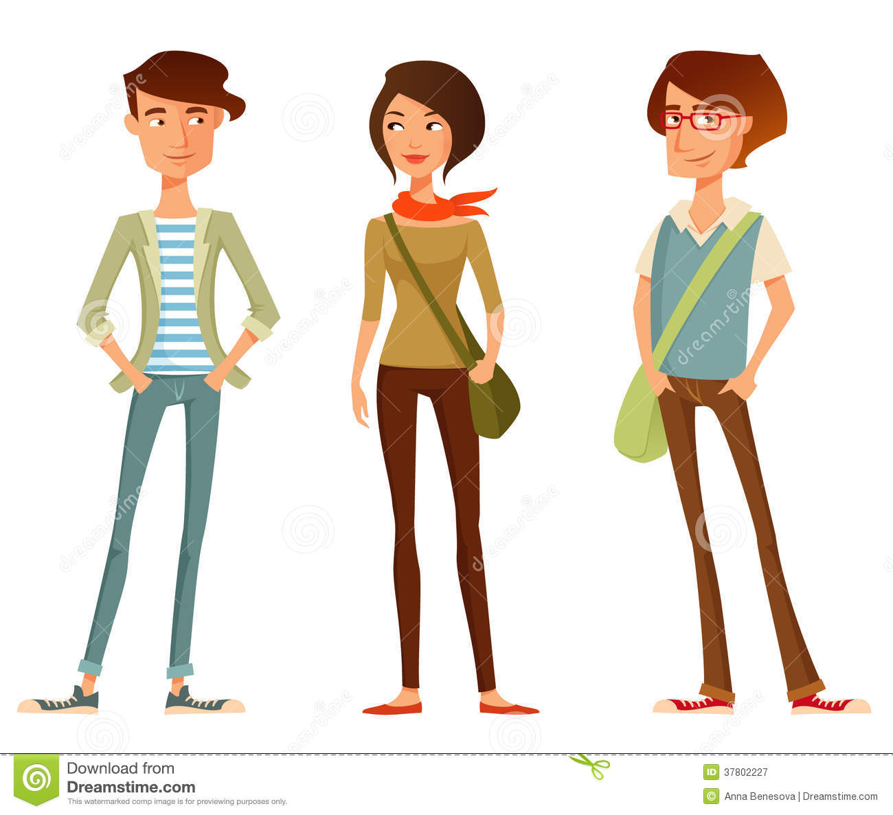 Cute Cartoon People In Hipster Fashion Stock Vector ...