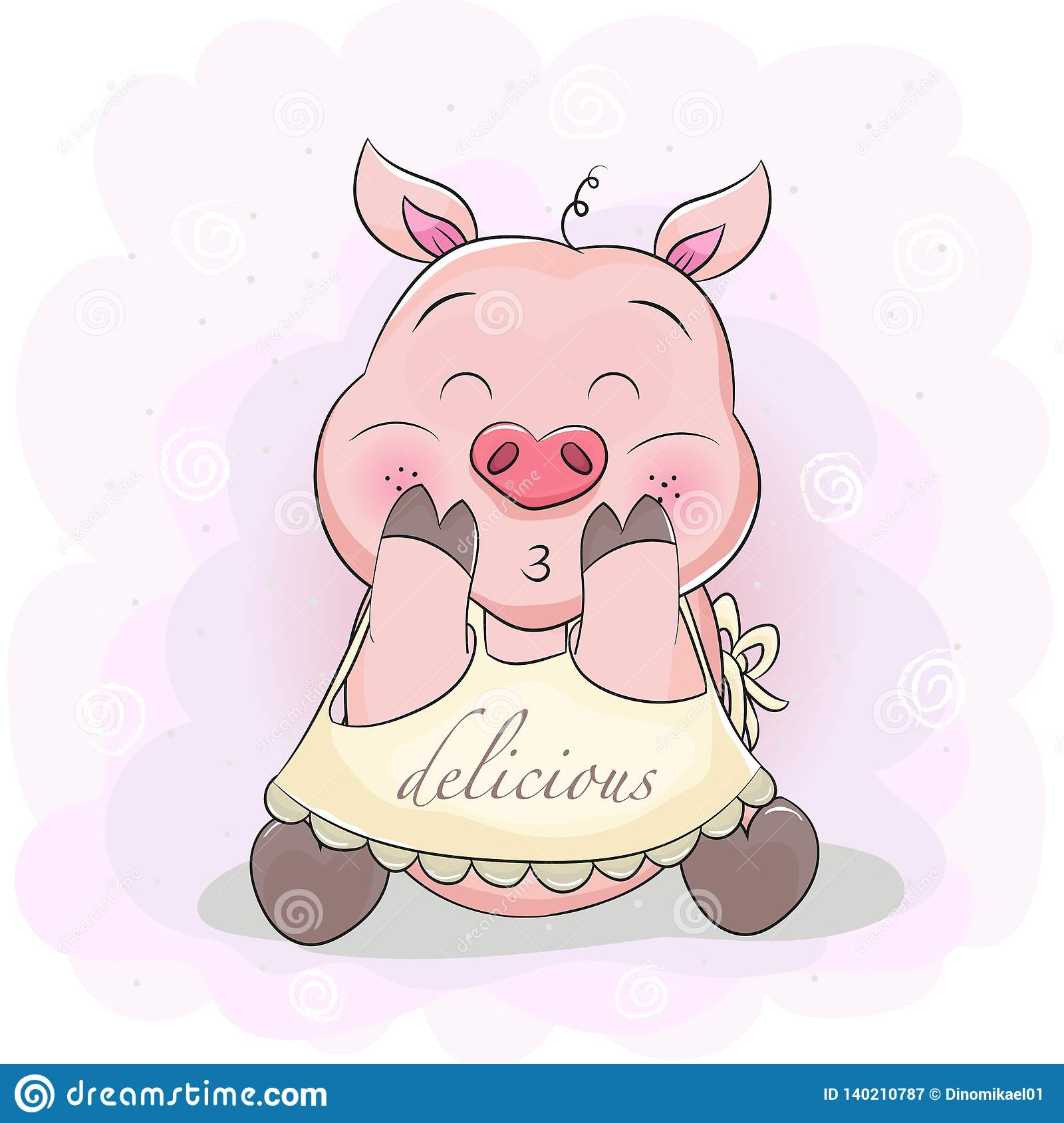 Cute cartoon pig with apron