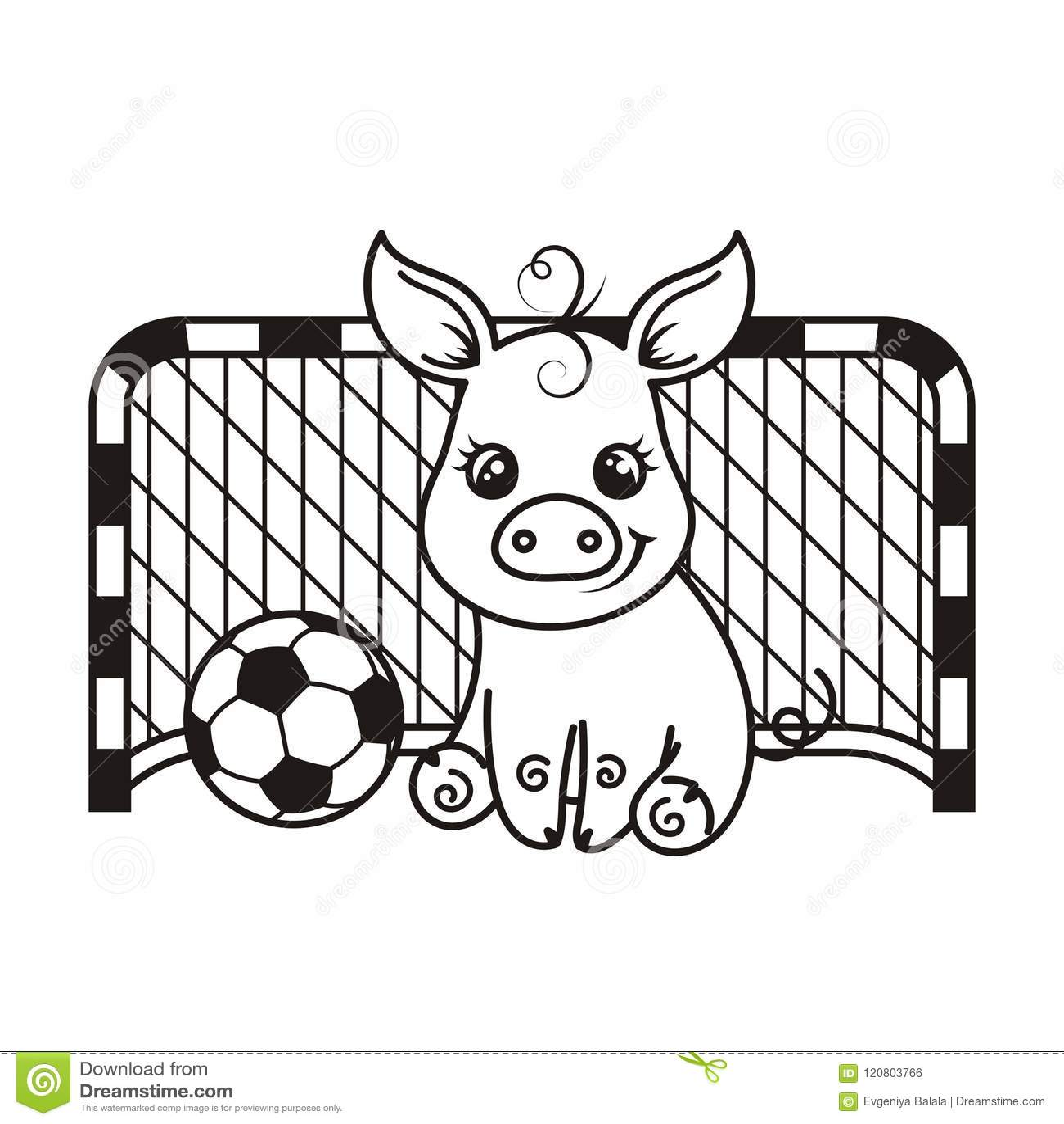Cute Cartoon Pig With A Soccer Ball. Vector Illustration. Stock ...