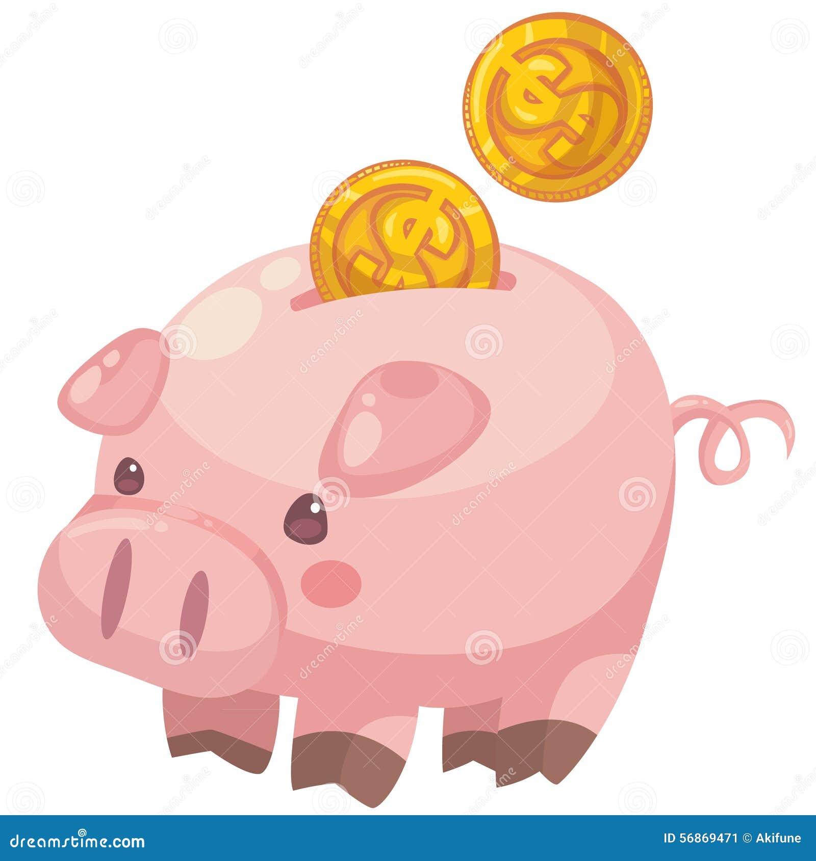 Cute Cartoon Piggy Bank With Coins Stock Vector