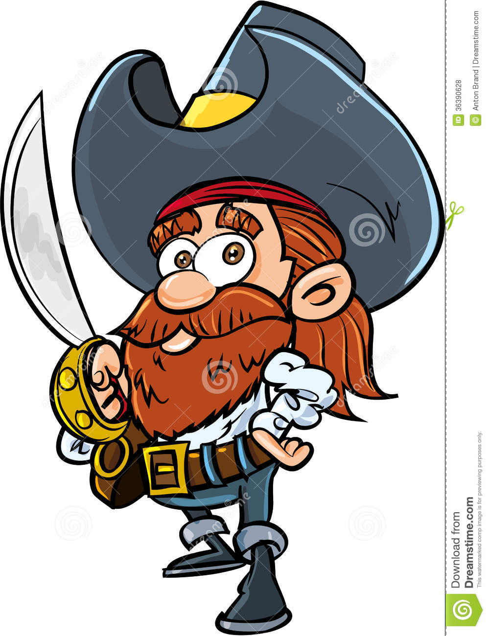 Cute Cartoon Pirate With A Cutlass Royalty Free Stock ...
