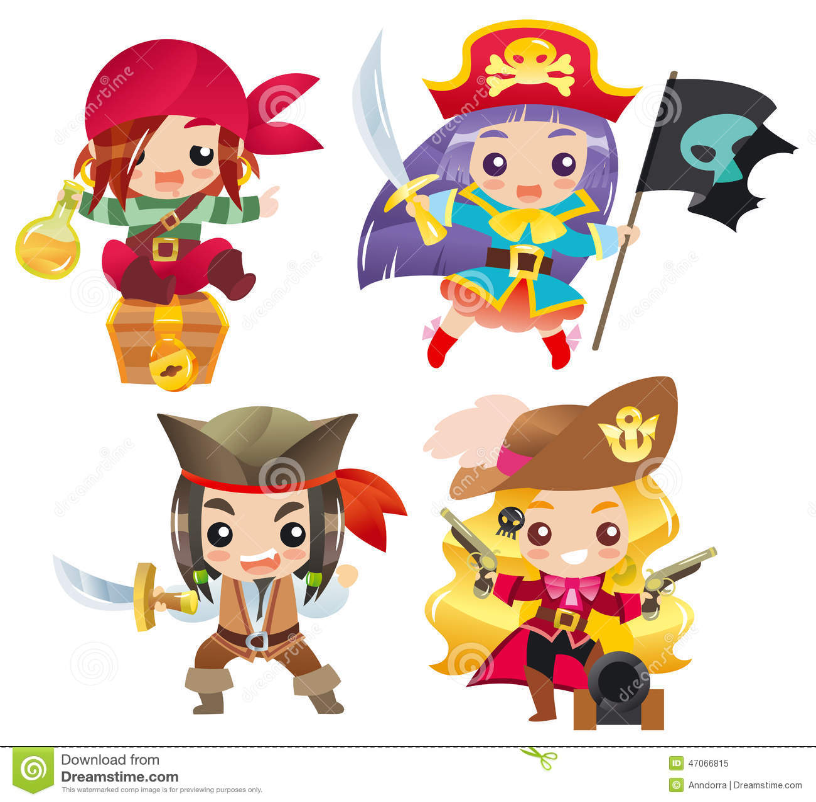 Cute cartoon pirates Set 1 stock vector. Illustration of ...