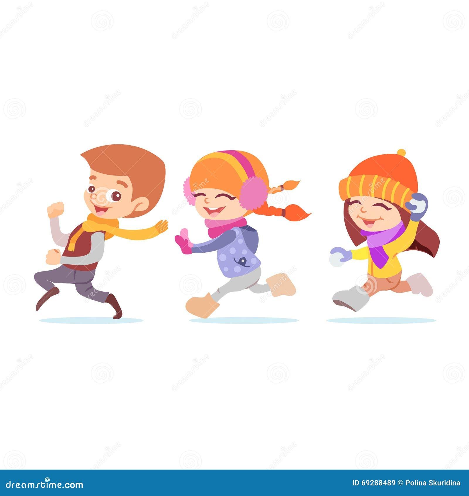 Uncategorized Kids Cartoon Download cute cartoon playing kids running in winter stock vector image royalty free download kids