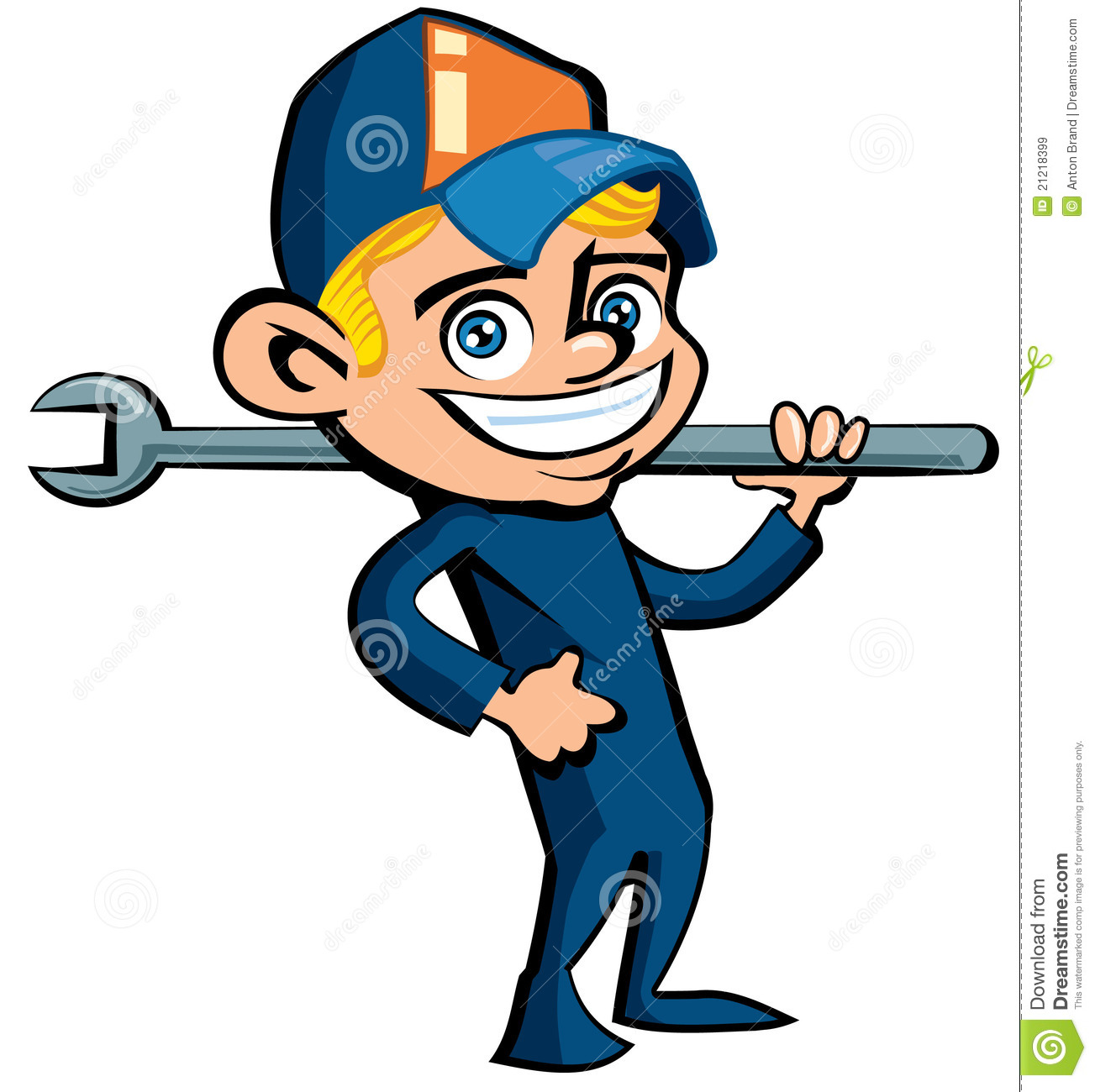 Cute Cartoon Plumber Holding A Tool Royalty Free Stock