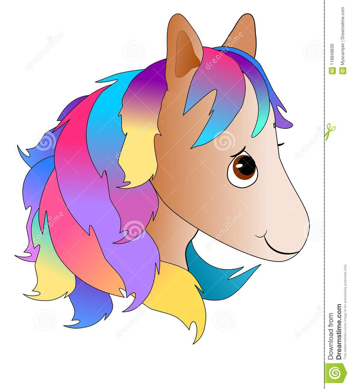 Cute Cartoon Pony Head With Colorful Mane Stock Illustration Illustration Of Baby Closeup 118849630