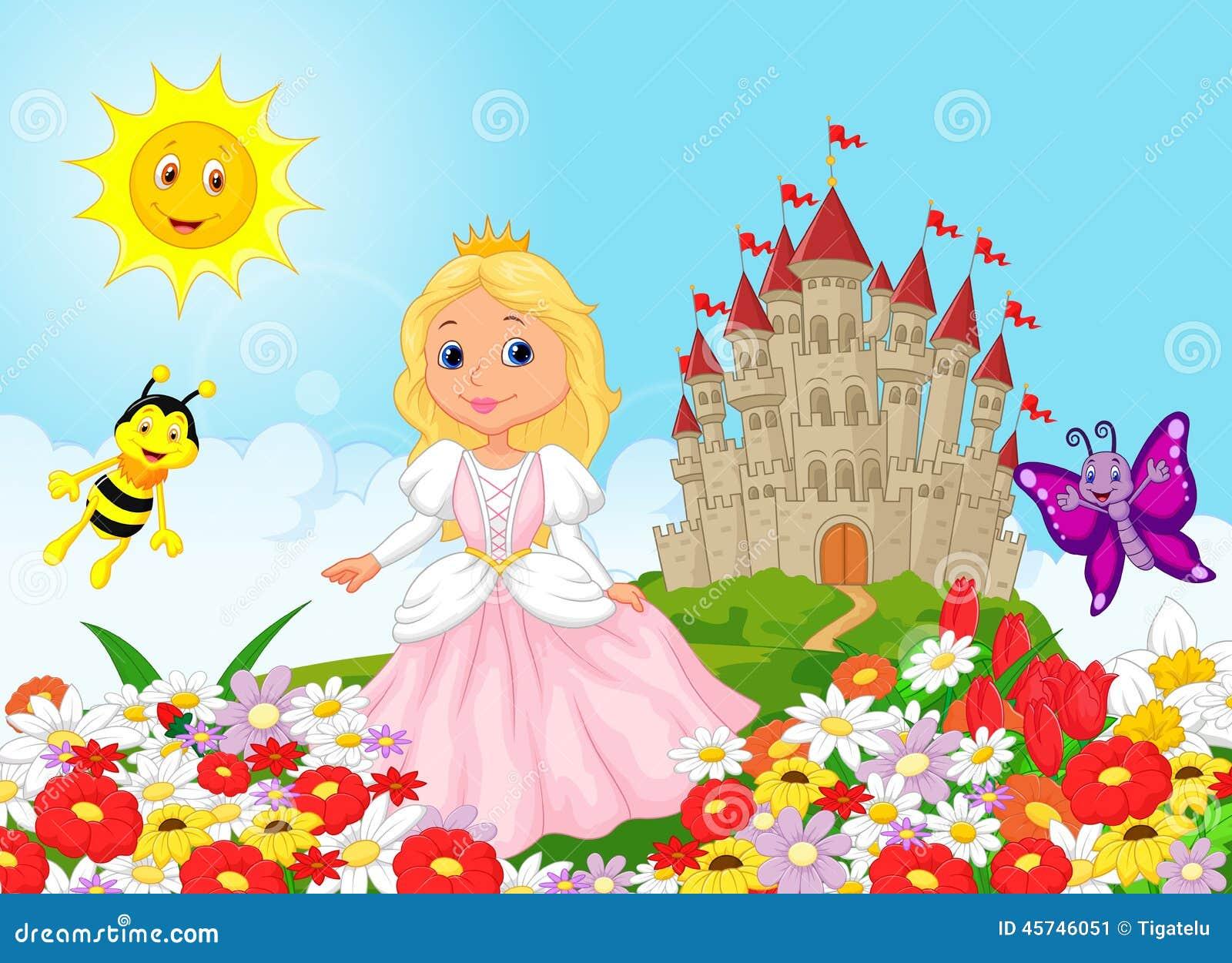Cute Cartoon Princess In The Floral Garden Stock Vector ...