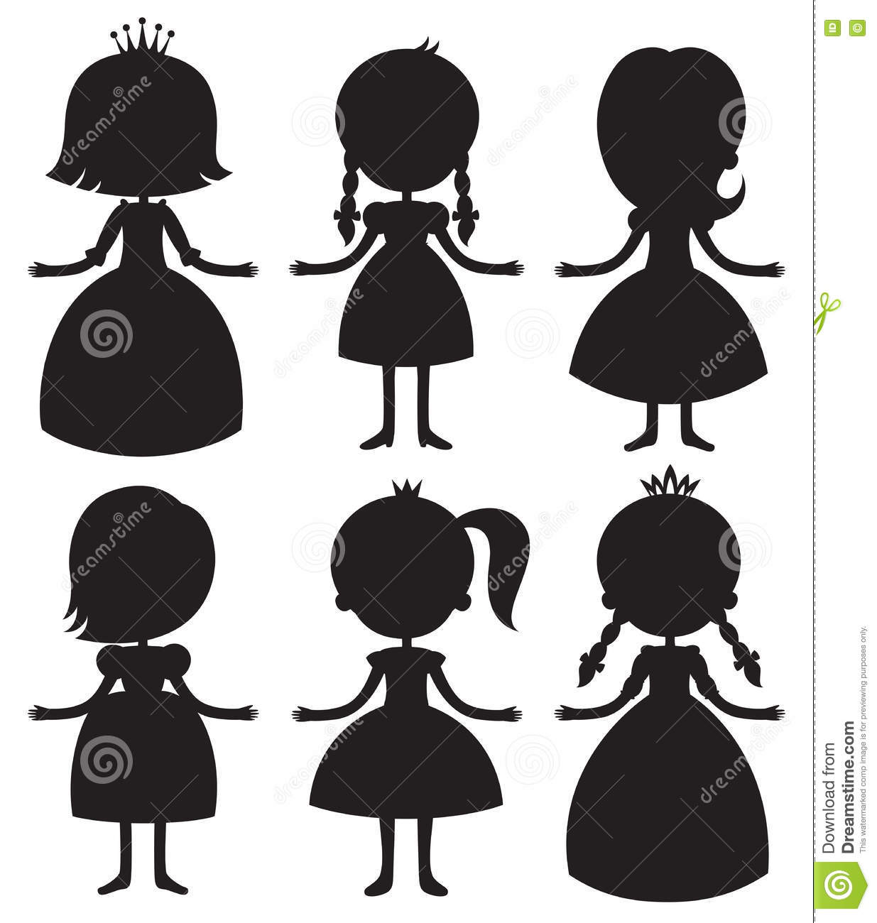 cute cartoon princess silhouettes set stock vector illustration