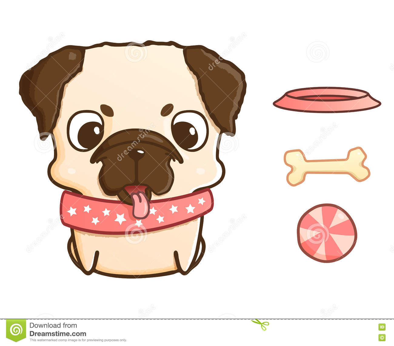 cute cartoon pug puppy vector illustration on white stock vector image 73218755 dog bone clipart pdf dog bone clipart pdf