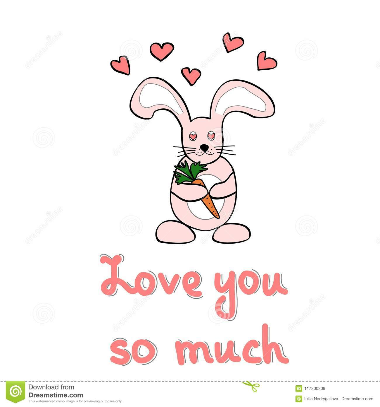 cute cartoon rabbit hearts and lettering quote on background valentines day greeting card or