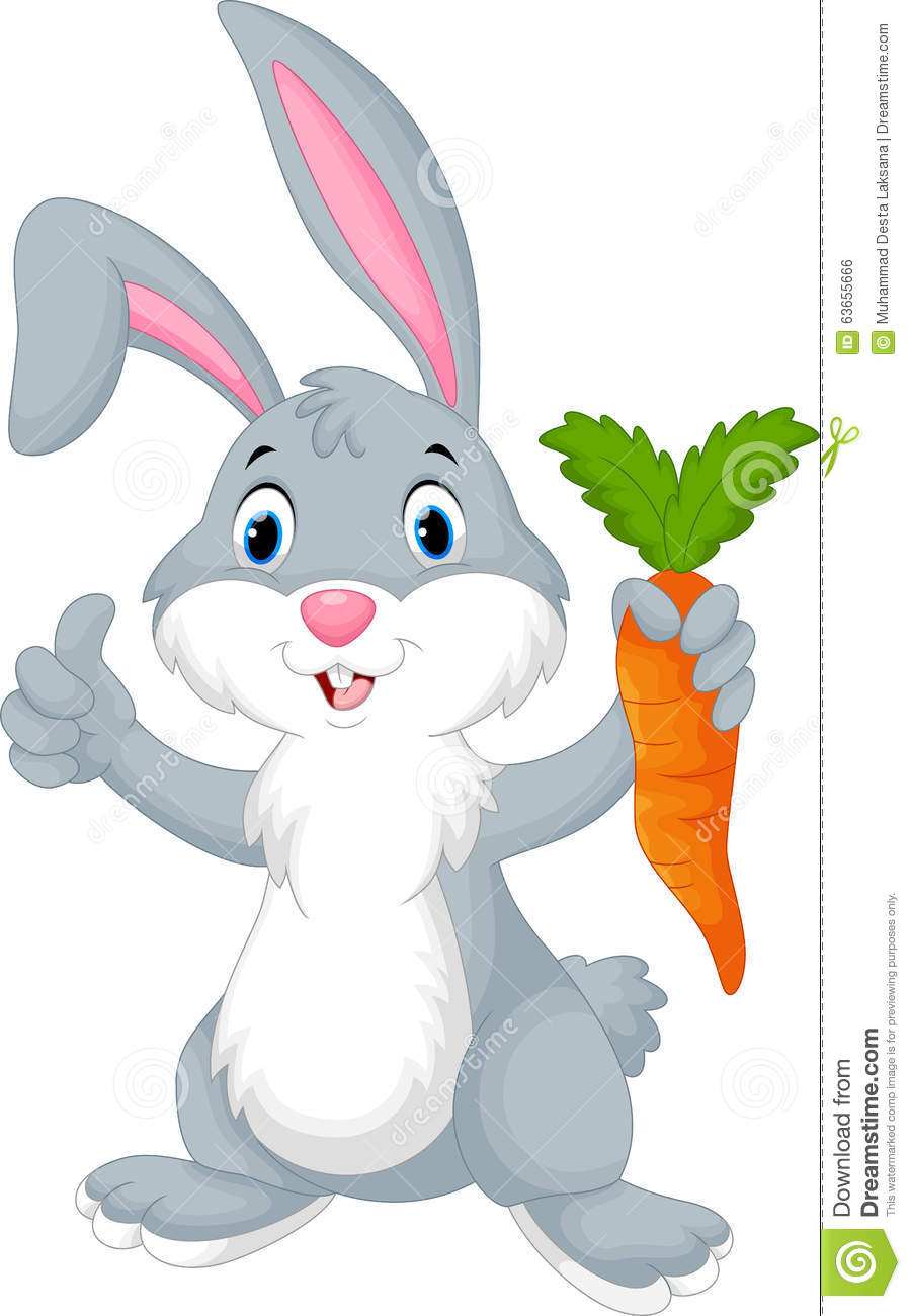 cute cartoon rabbit holding a carrot stock illustration rabbit vector free download rabbit vector free