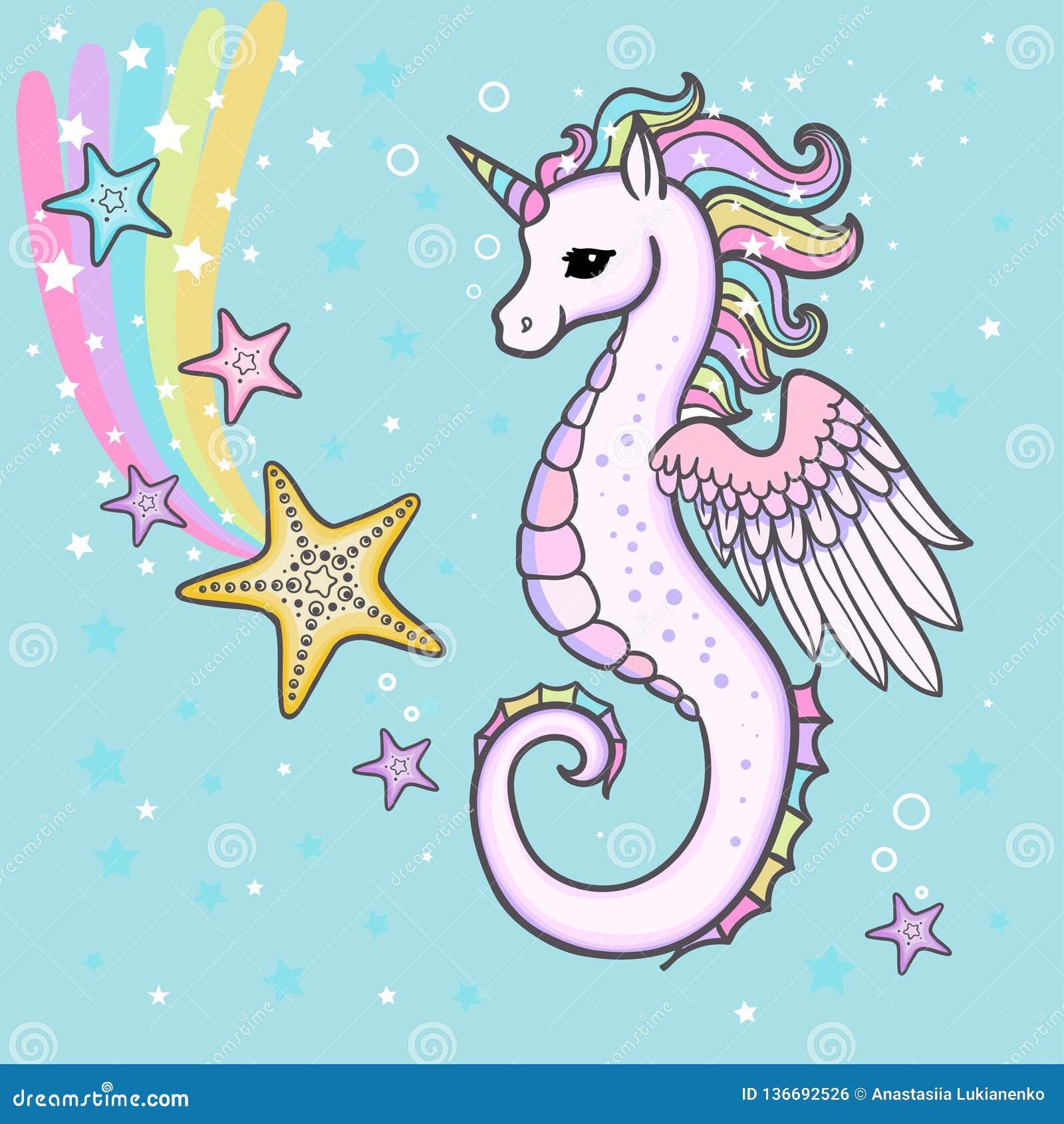 Cute Cartoon Rainbow Seahorse Unicorn With Starfish Vector Stock Vector Illustration Of Happy Creature 136692526