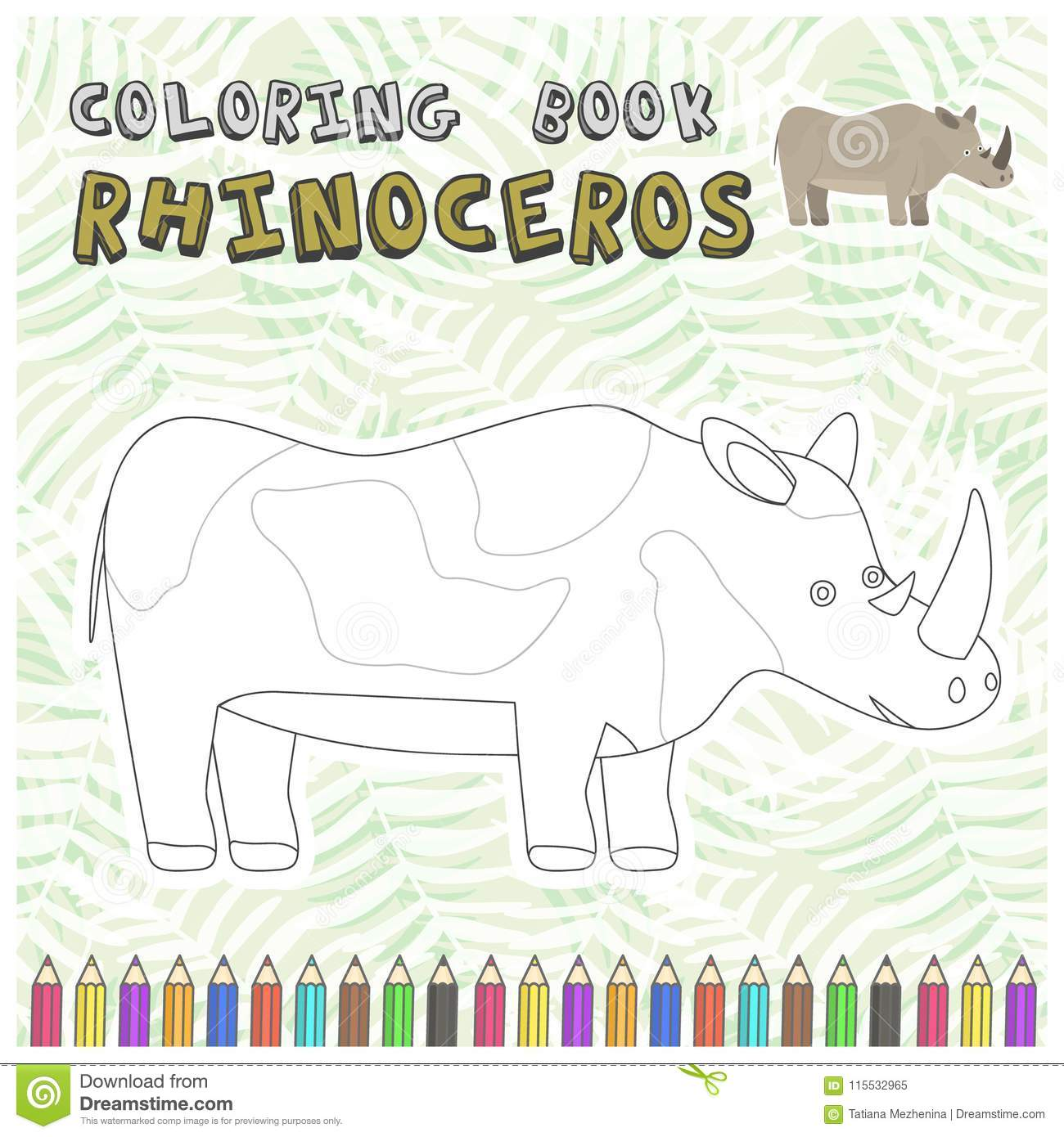 Cute Cartoon Rhinoceros Silhouette For Color Book Stock Vector ...