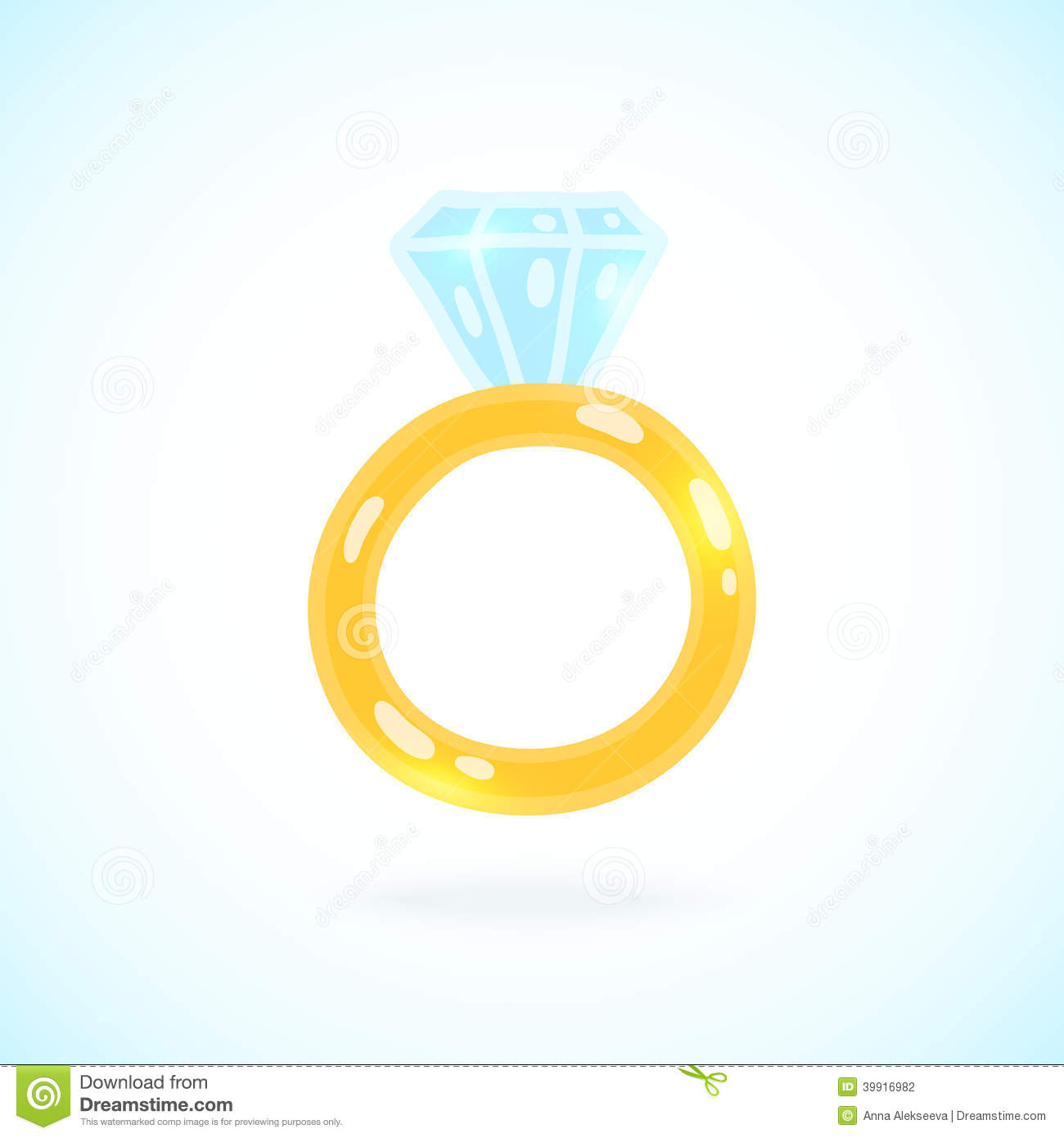 Cute Cartoon Ring With Brilliant. Engagement Ring Stock ...