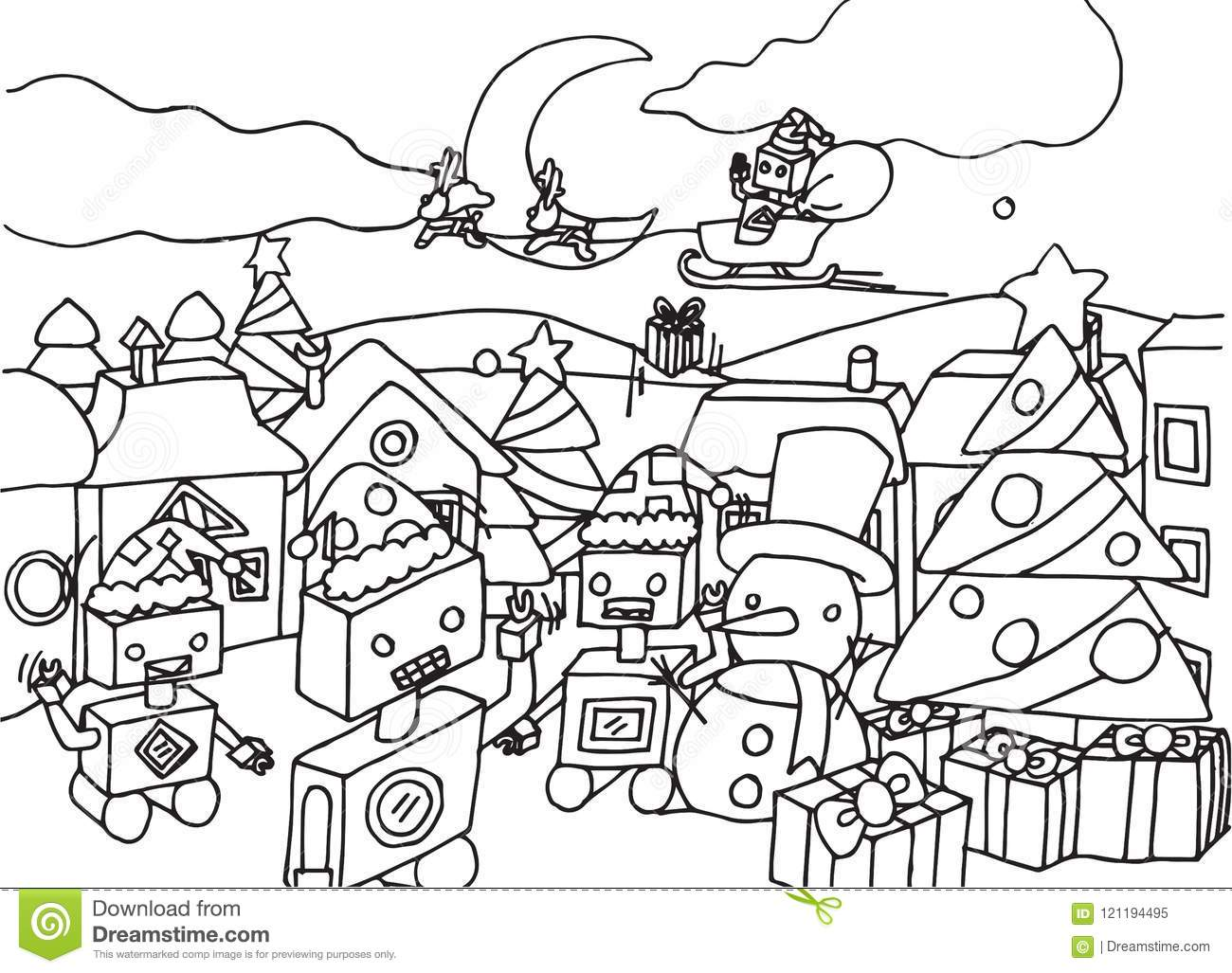 Cute Cartoon Robots On Christmas Coloring Page Stock Vector