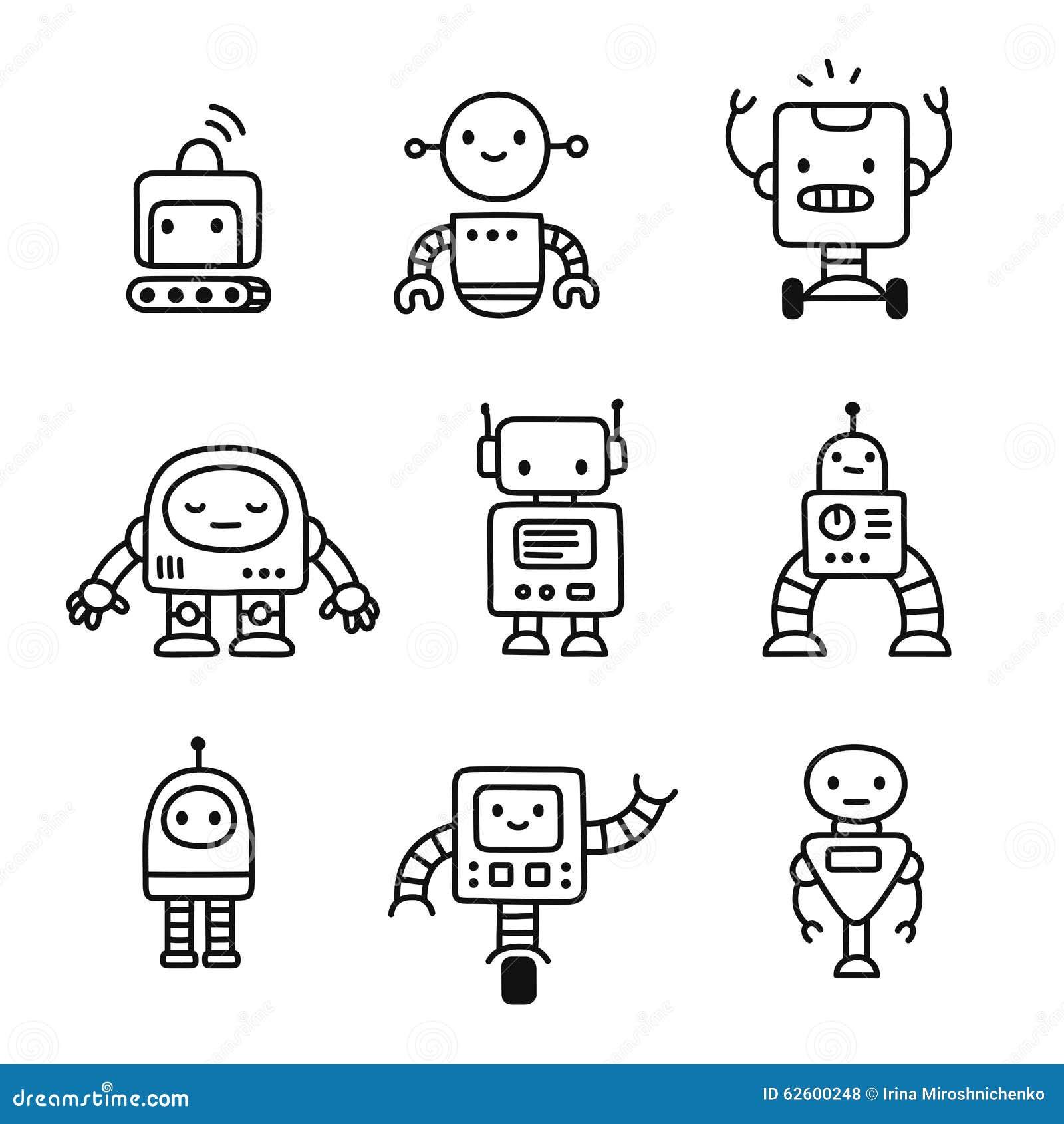 cute cartoon robots stock vector